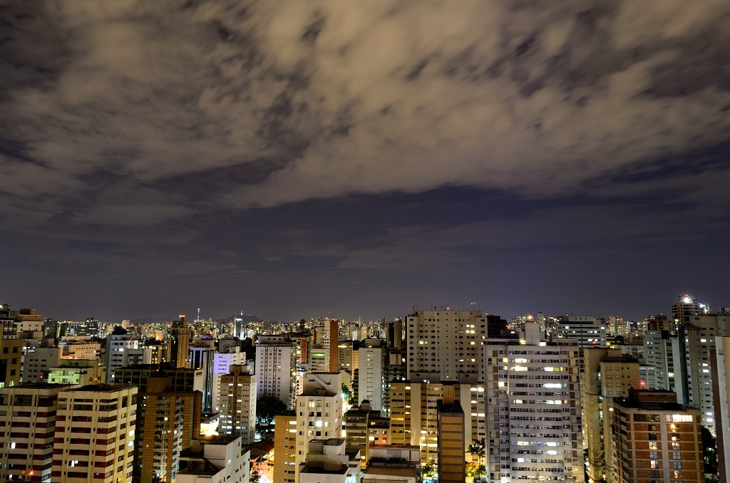 Aerial View of City With High Rise Building at Night Time, Architecture, Buildings, City, Cityscape, HQ Photo