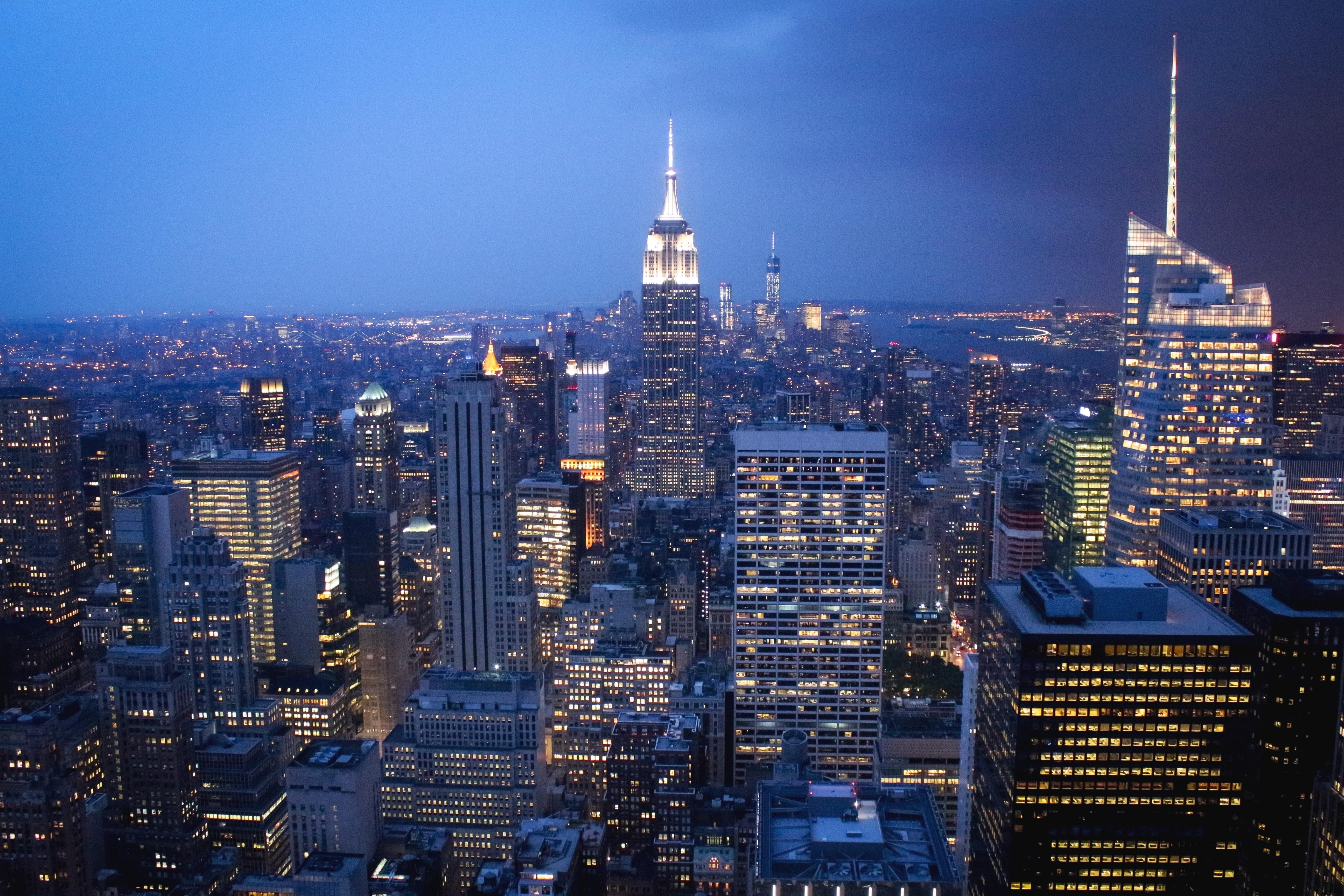 Aerial view of skyscraper buildings photo