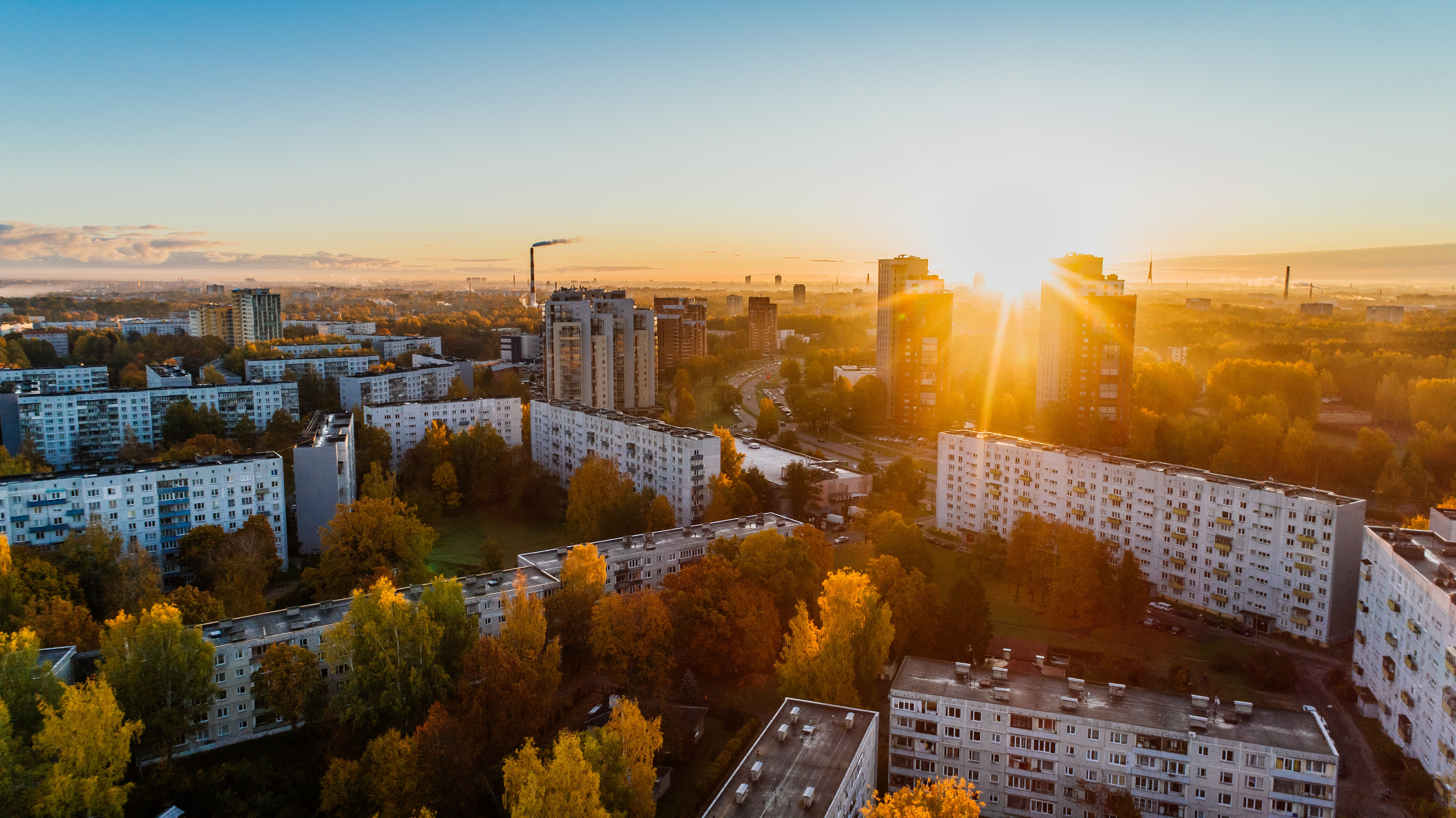 Aerial View of White Concrete Buildings during Golden Hours, Aerial, Scenic, Sky, Skyline, HQ Photo
