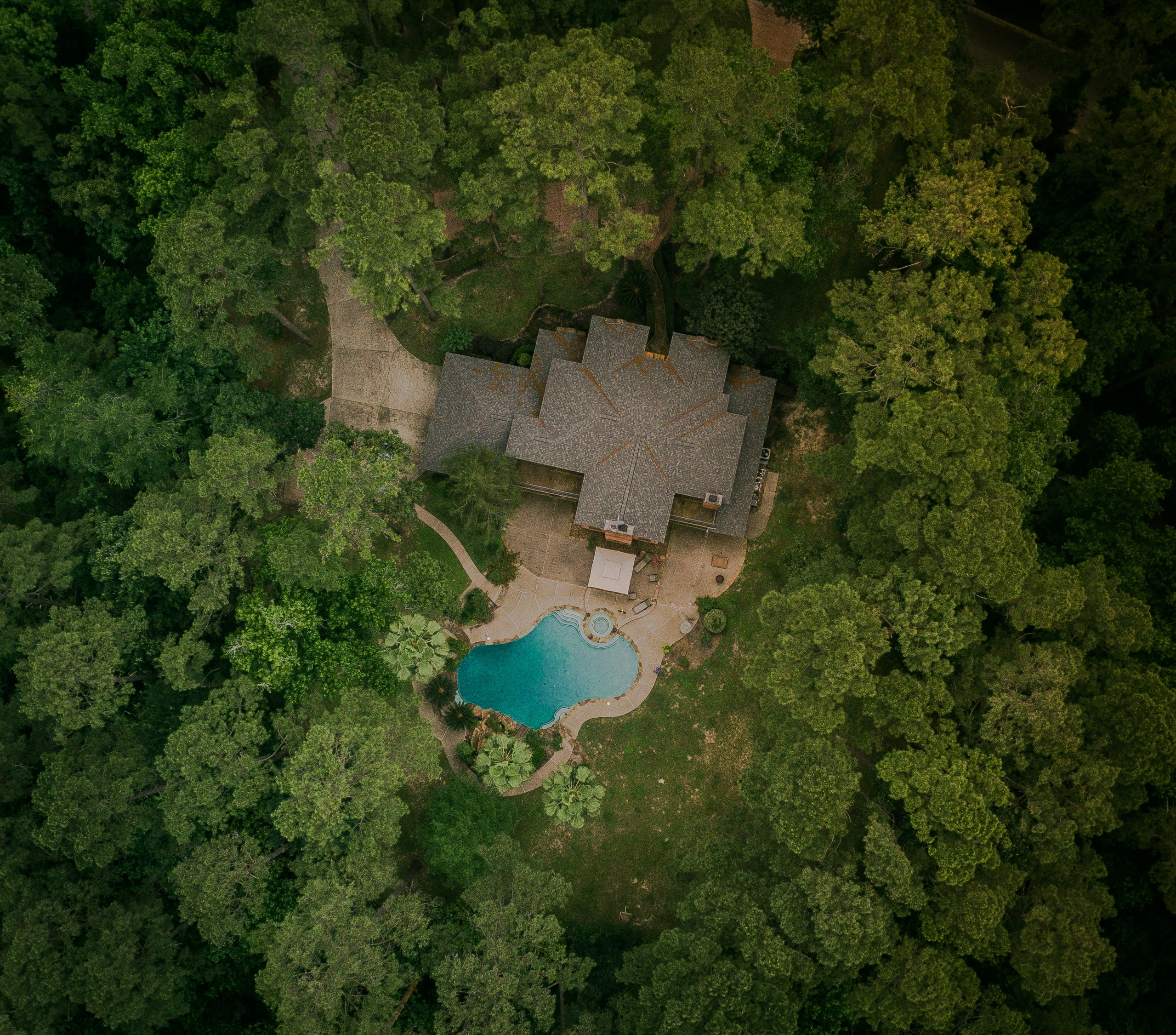 Aerial View Photography of House With Swimming Pool, Aerial, Environment, Trees, Swimming pool, HQ Photo