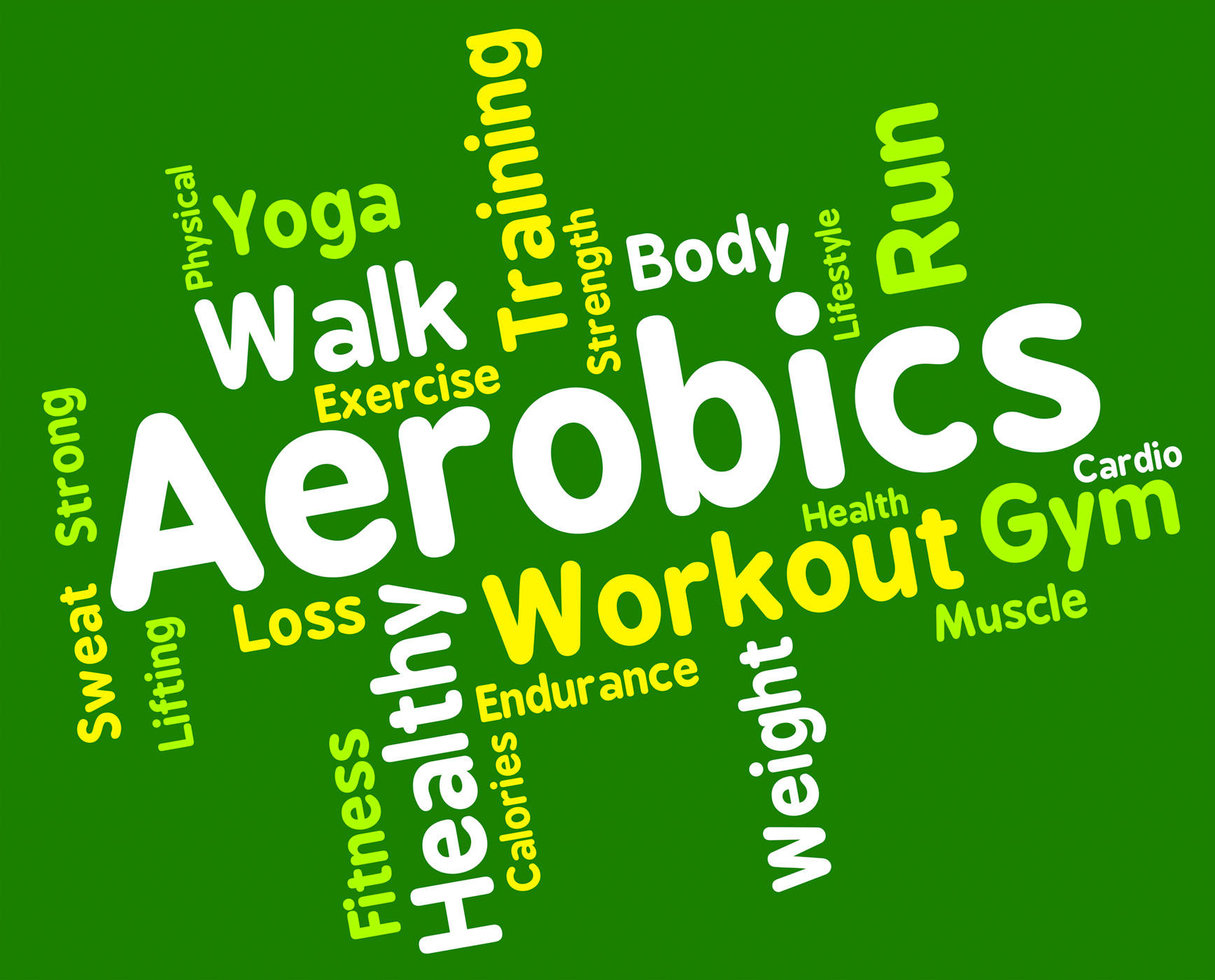 Aerobics words shows get fit and cardio photo