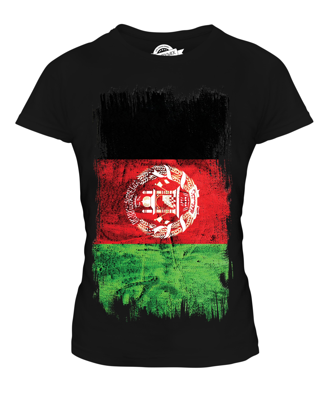 AFGHANISTAN GRUNGE FLAG LADIES T-SHIRT TEE TOP AFGHANESTAN FOOTBALL ...