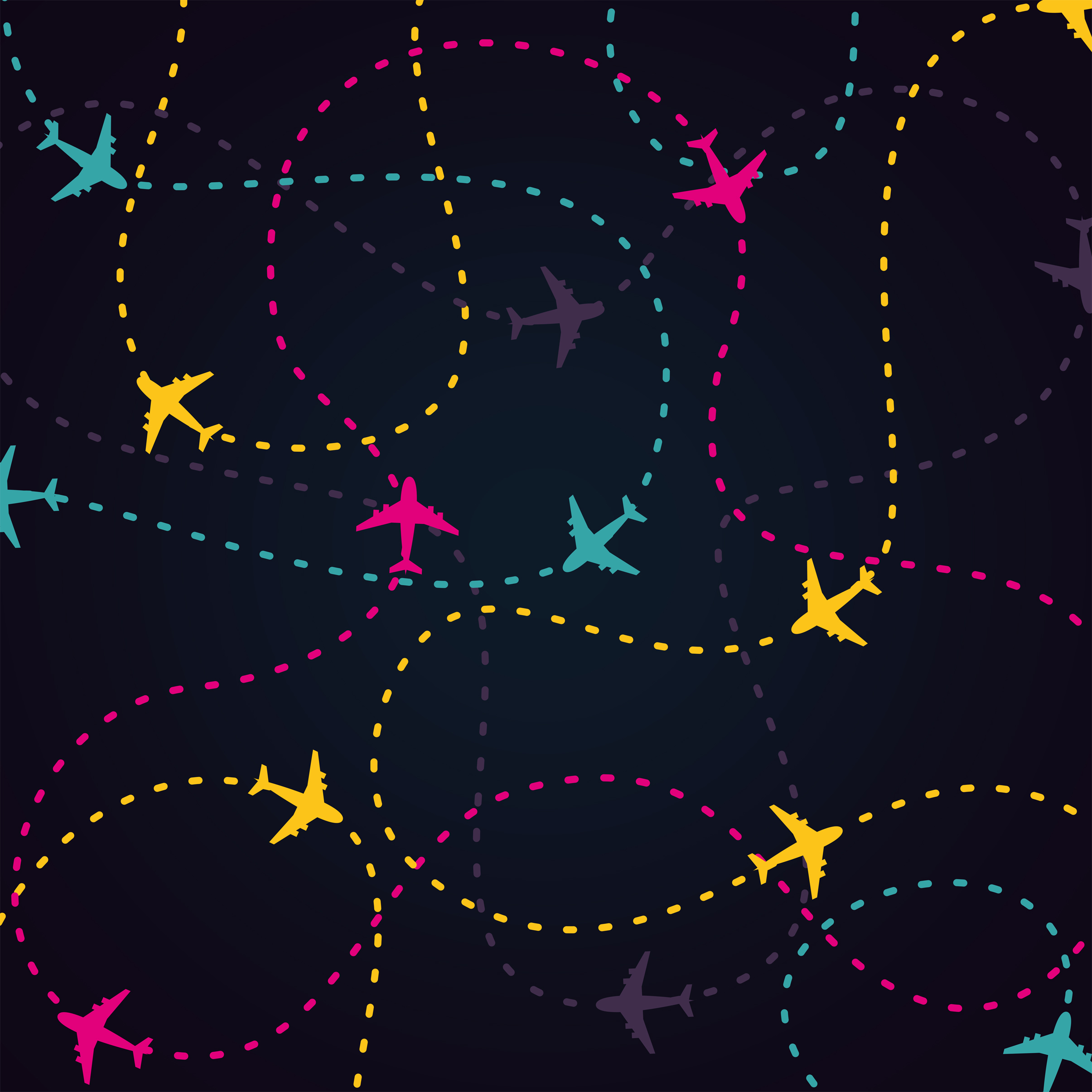 Air travel - little planes and their routes photo