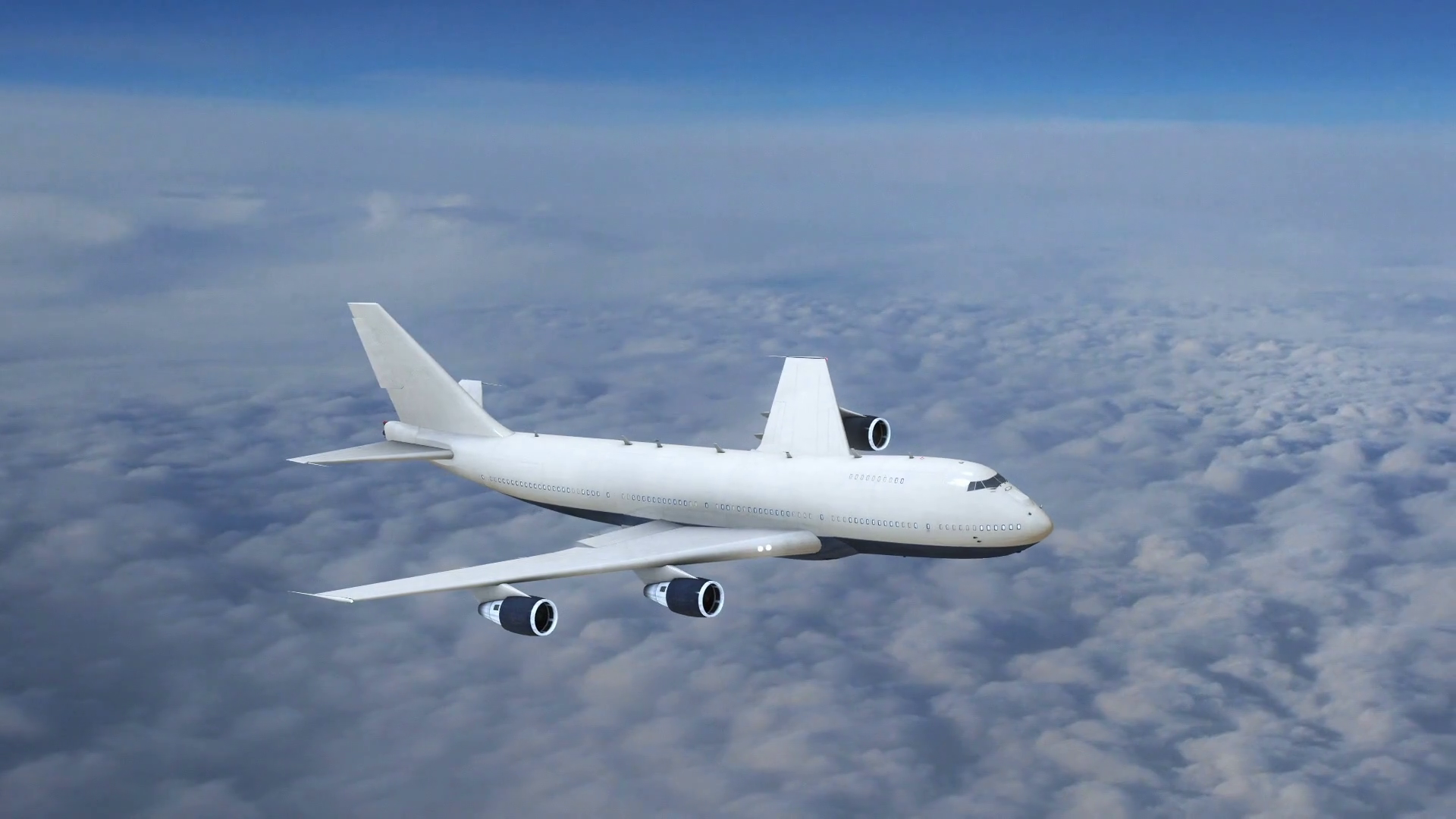 Plane Flying Above The Clouds, Commercial Airplane In Flight Motion ...
