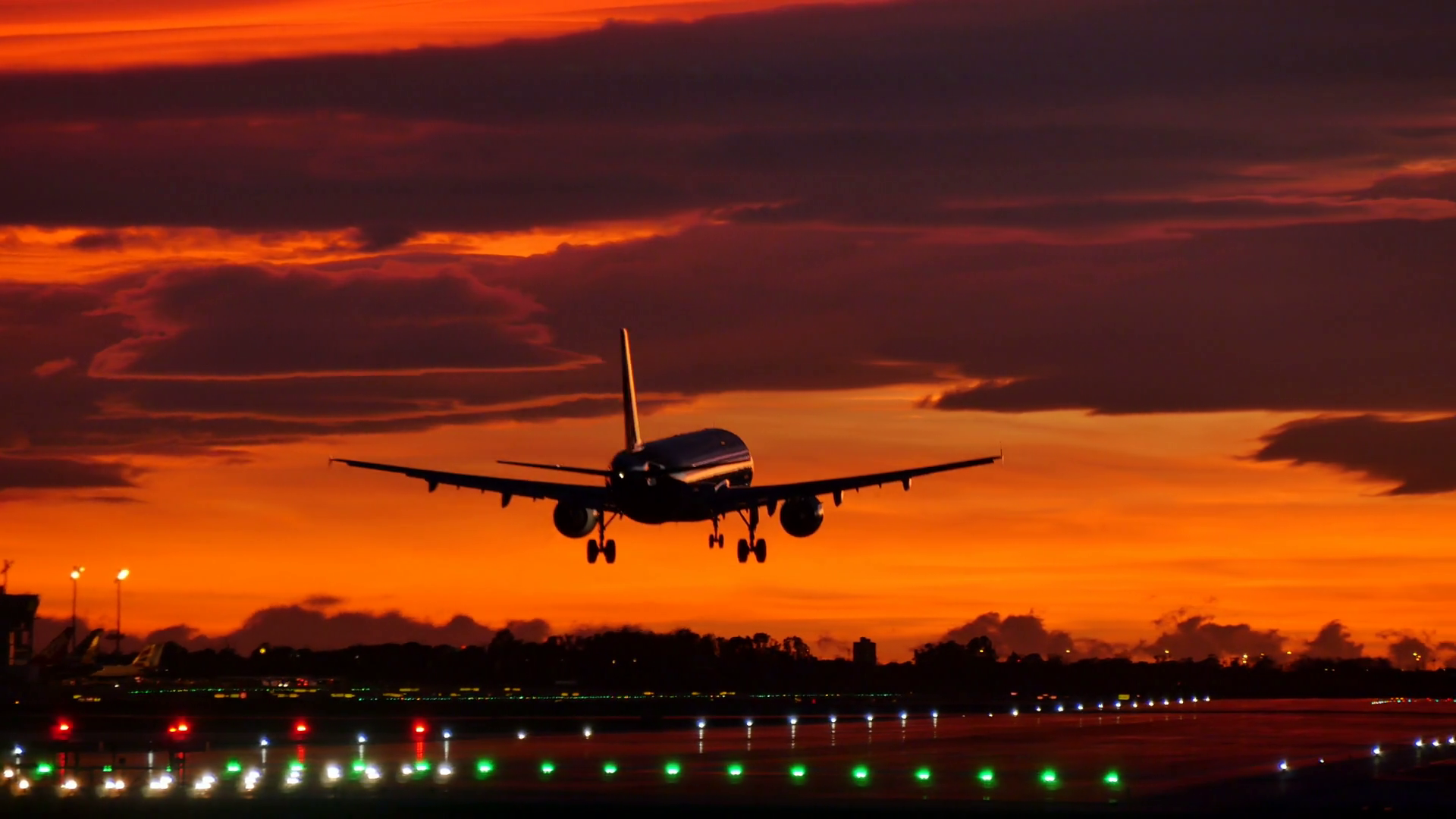 Commercial Aircraft Landing at Barcelona Airport at Sunset ...