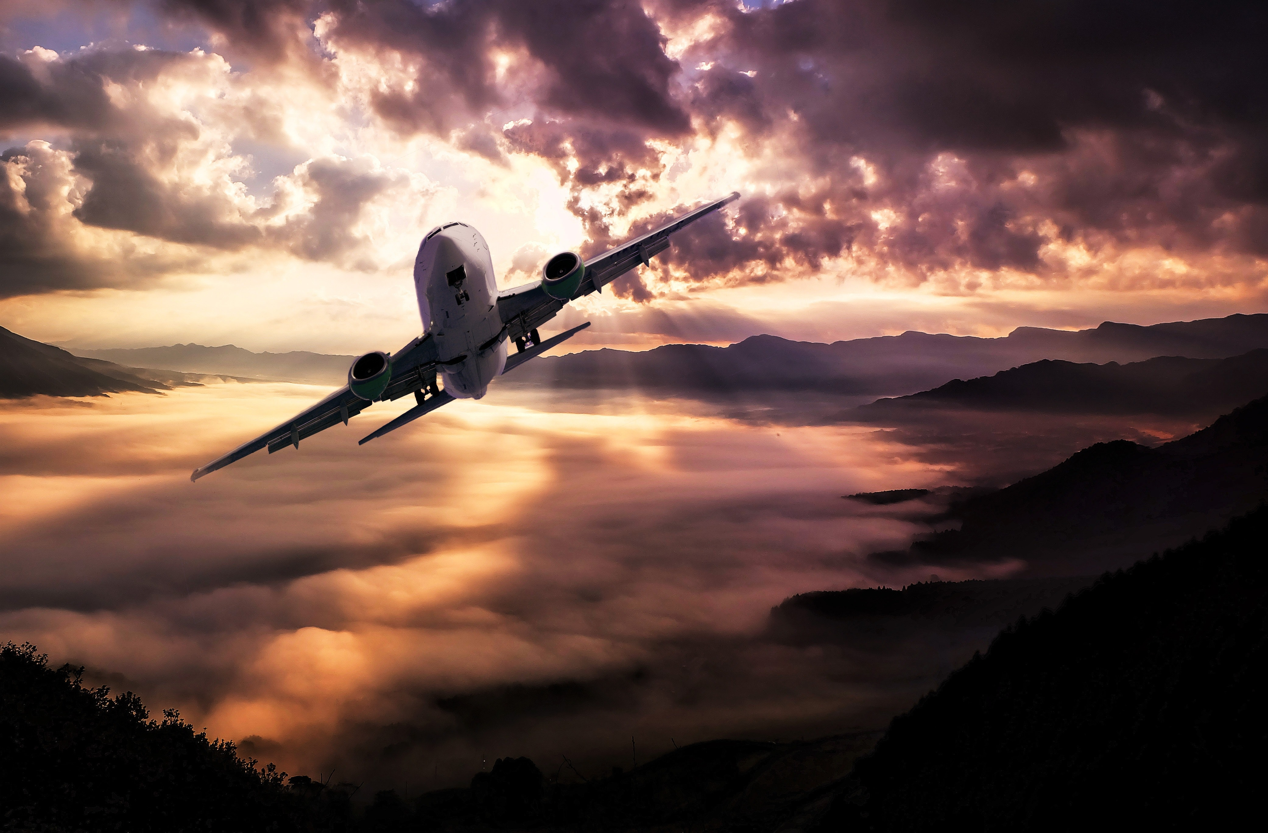 Airplane Flying Under White Clouds during Night Time, Aeroplane, Aircraft, Airplane, Aviation, HQ Photo