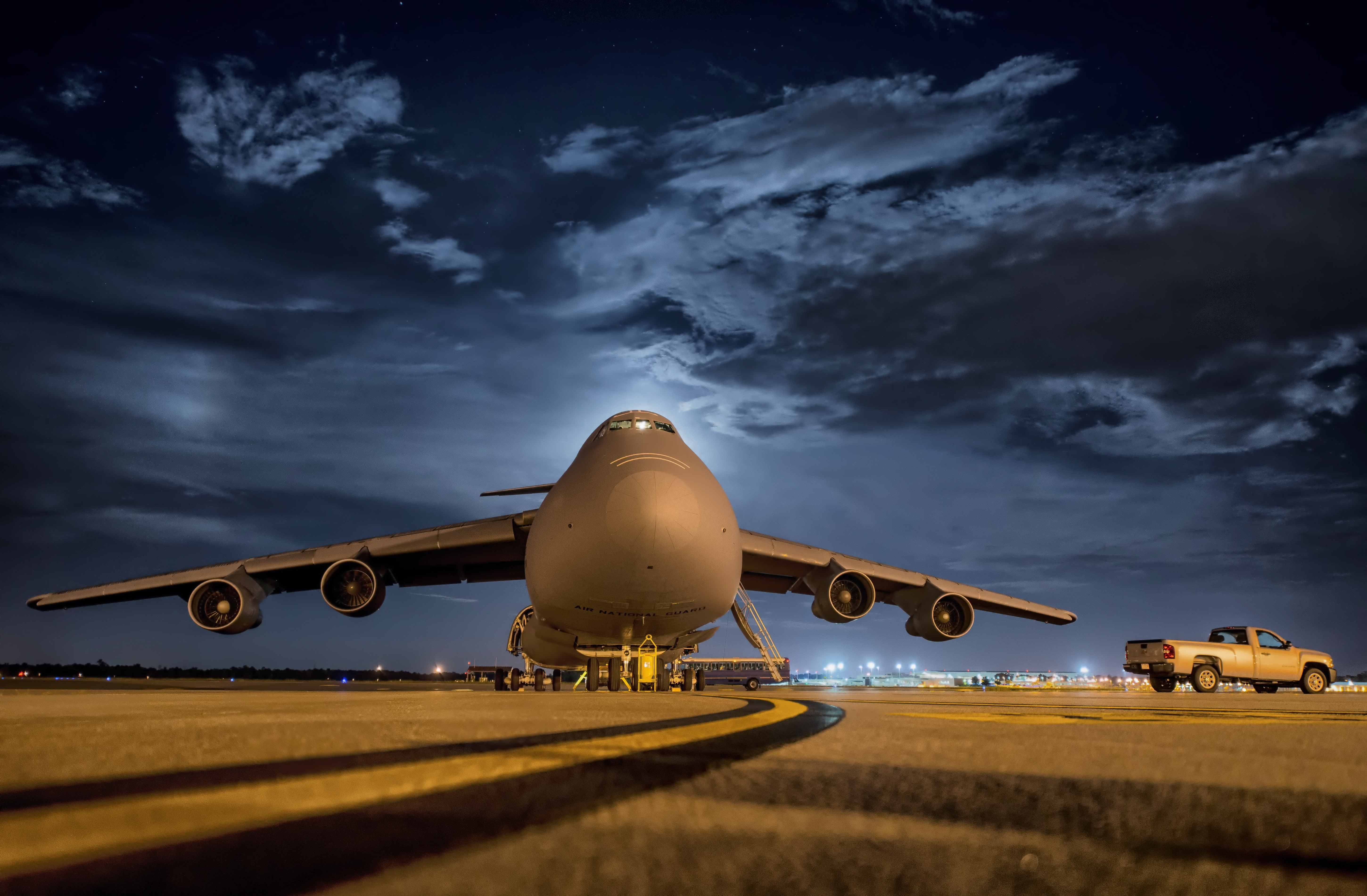 Airplane in front and night sky photo