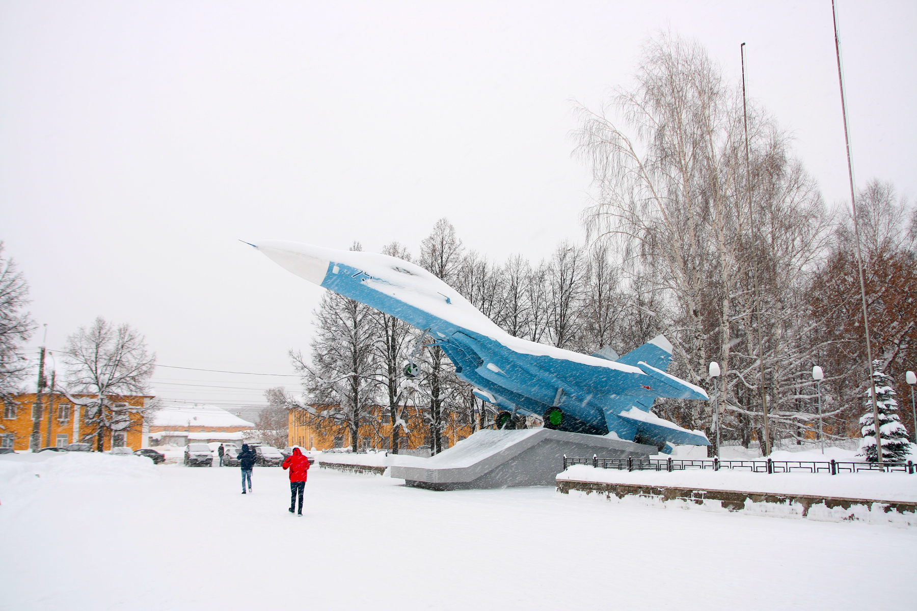 Airplane monument in winter photo