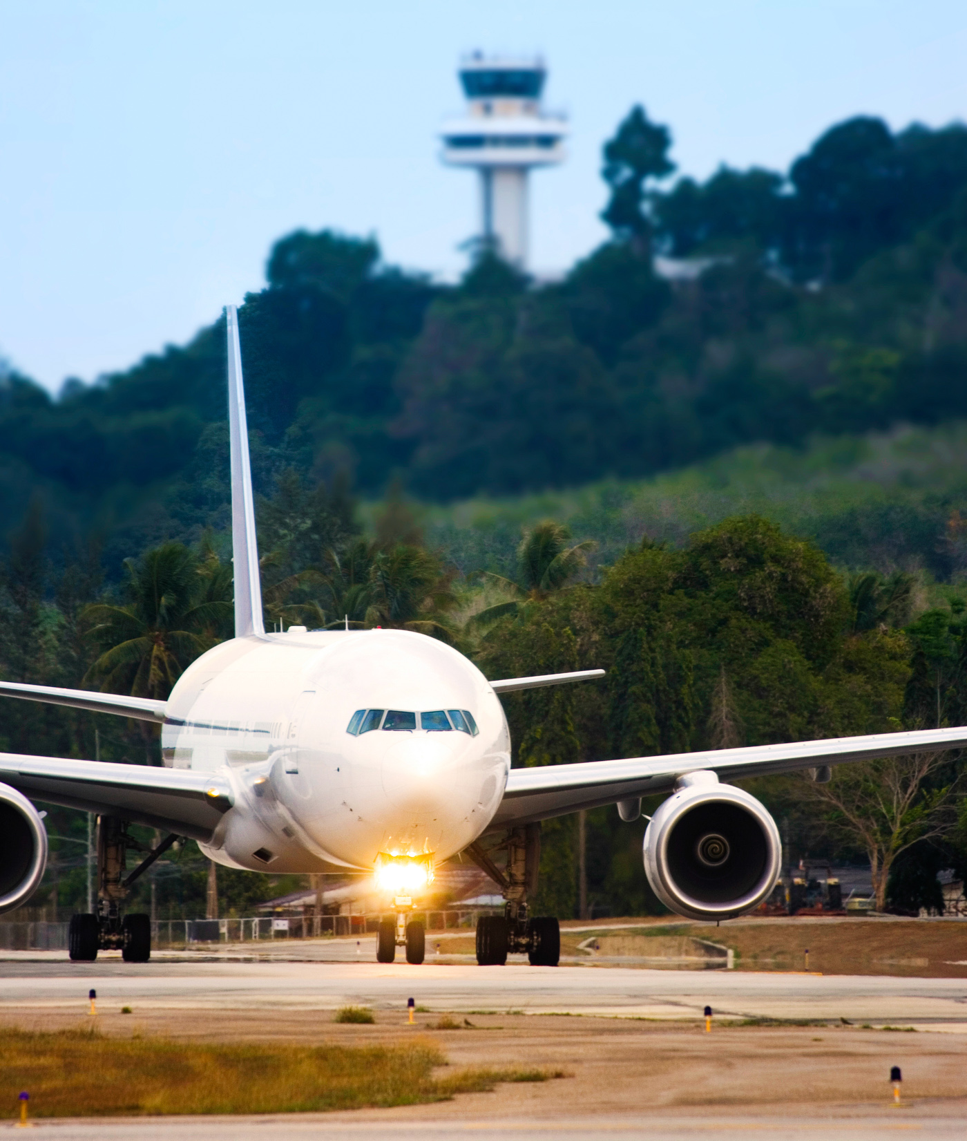 Airplane taxiing ready for takeoff photo
