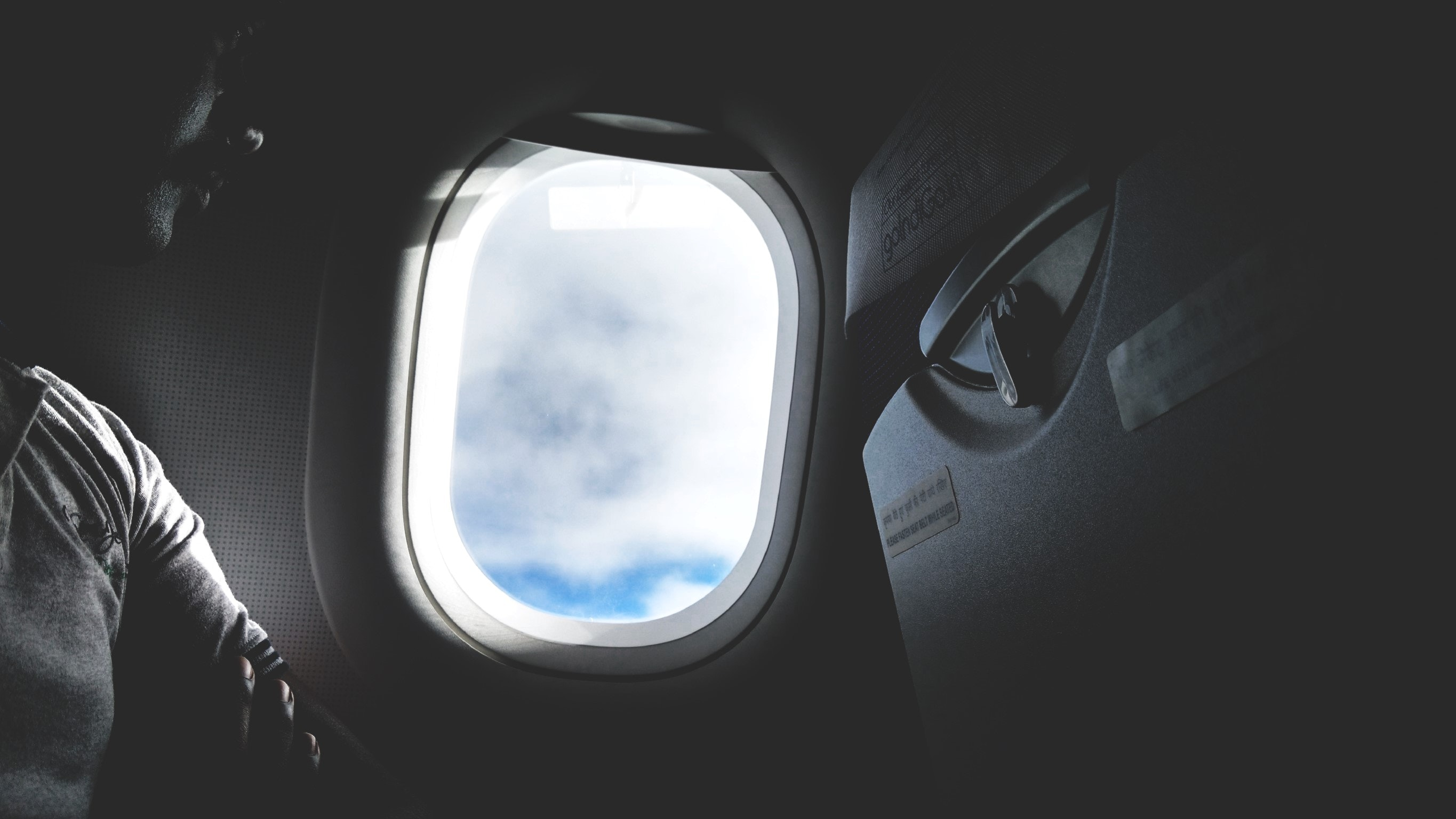 Airplane window opened photo