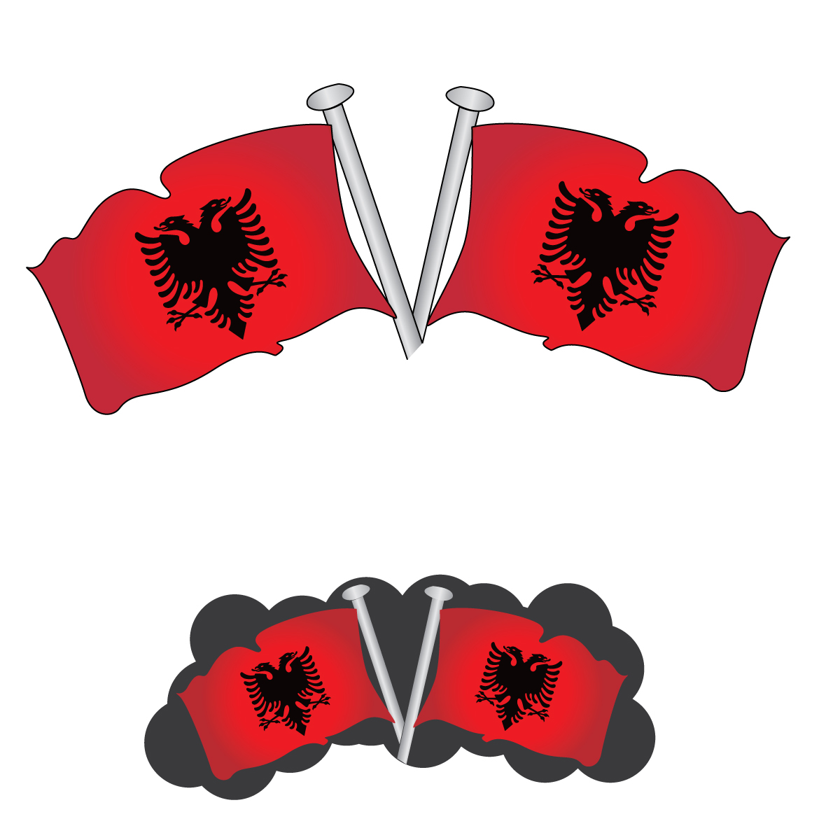 Albania flag on pole photo
