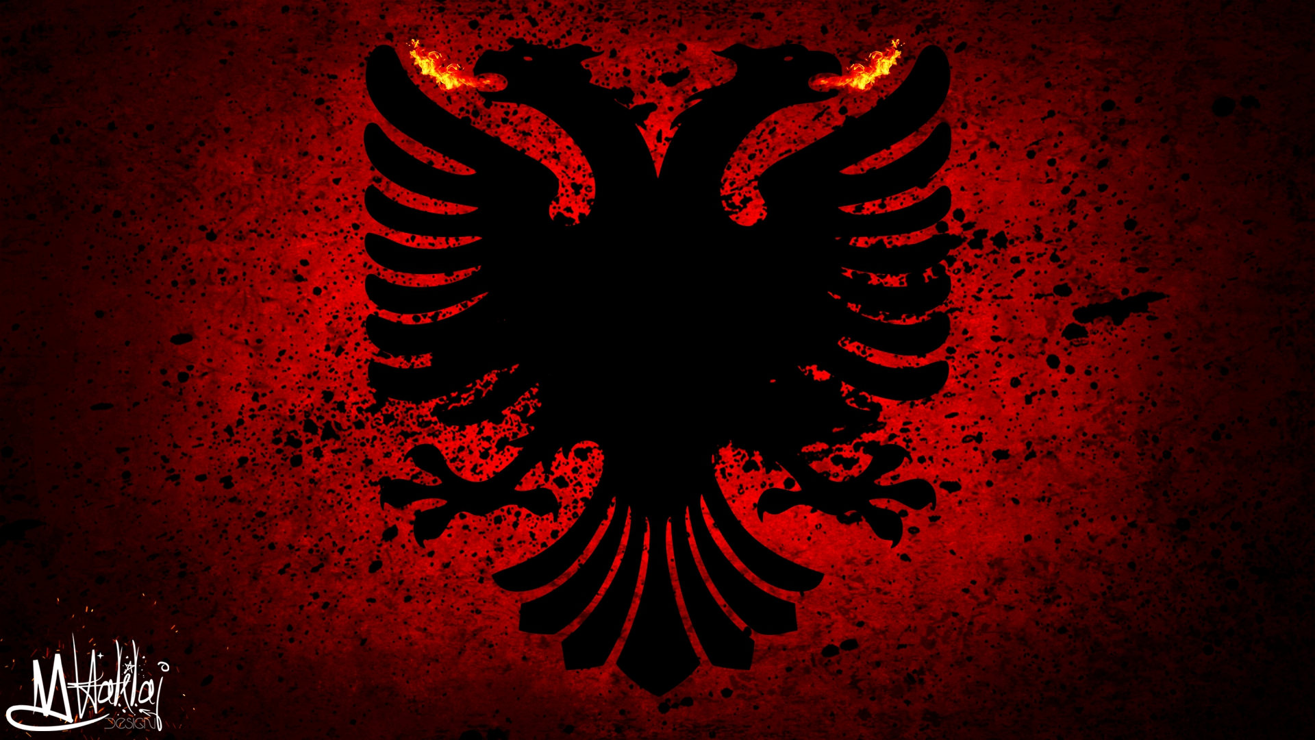 albanian flag grunge red black fire firered