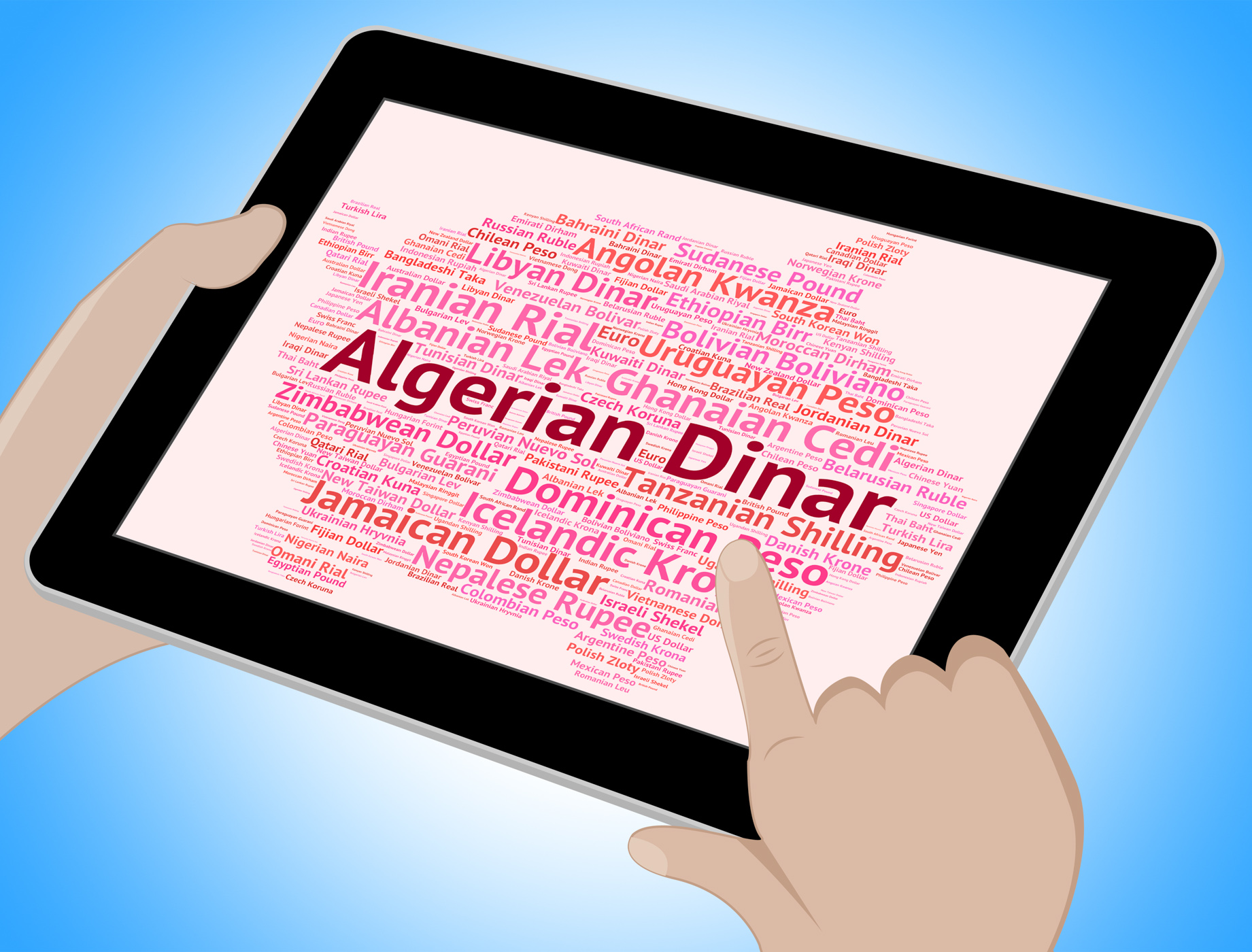 Algerian dinar represents worldwide trading and broker photo