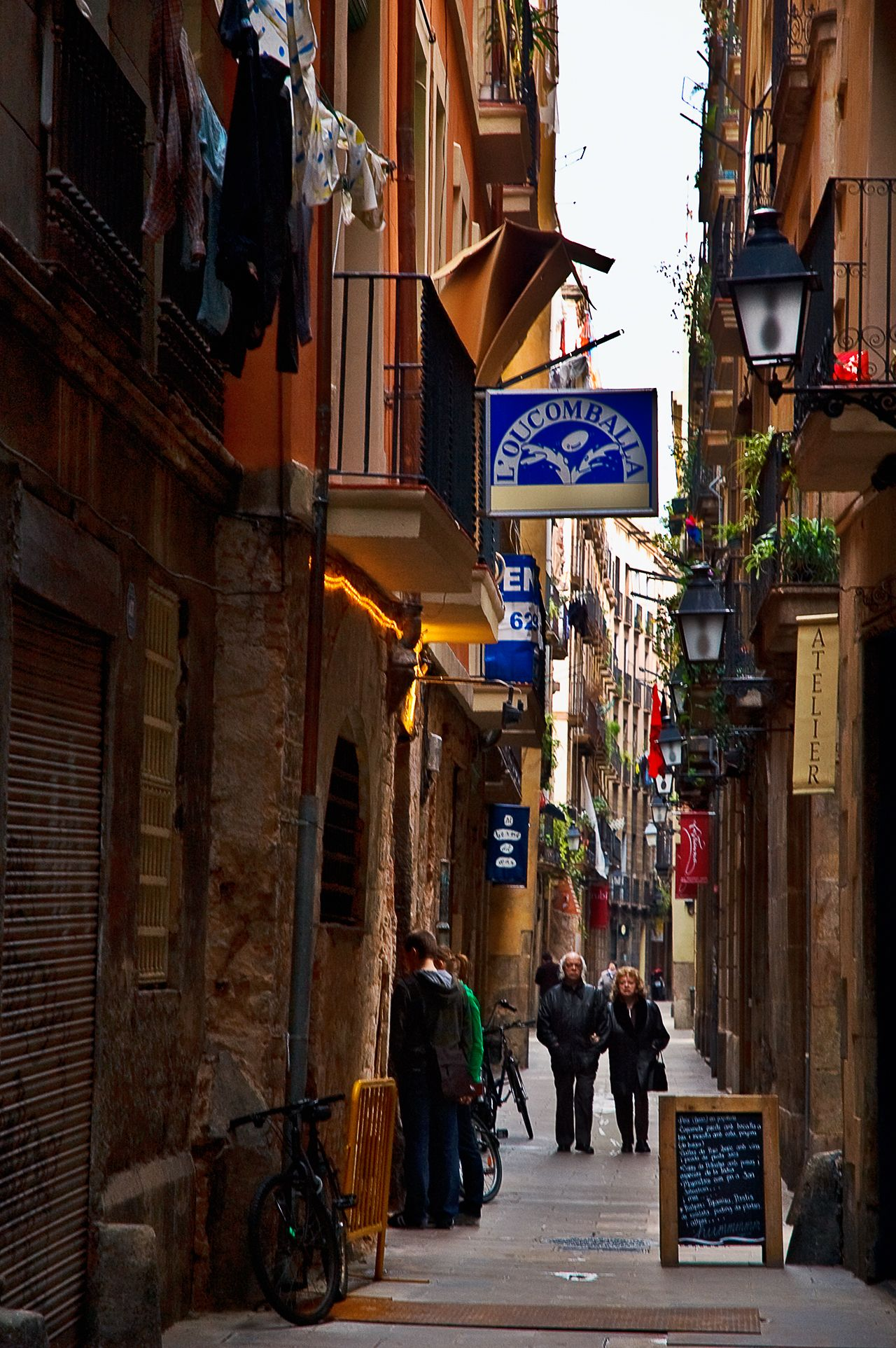 Alley in barcalona, spain photo