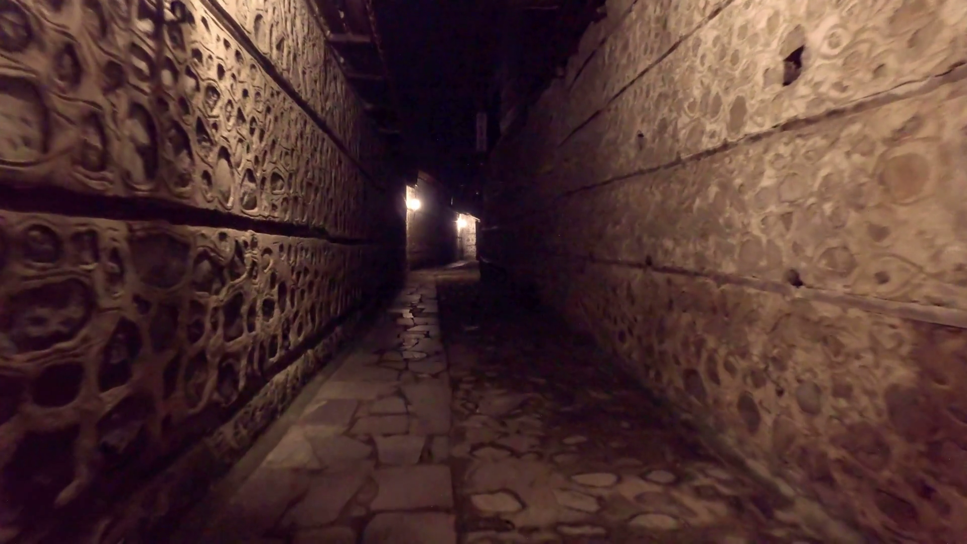 Walking POV in An old-fashioned Dark Alleyway Stock Video Footage ...