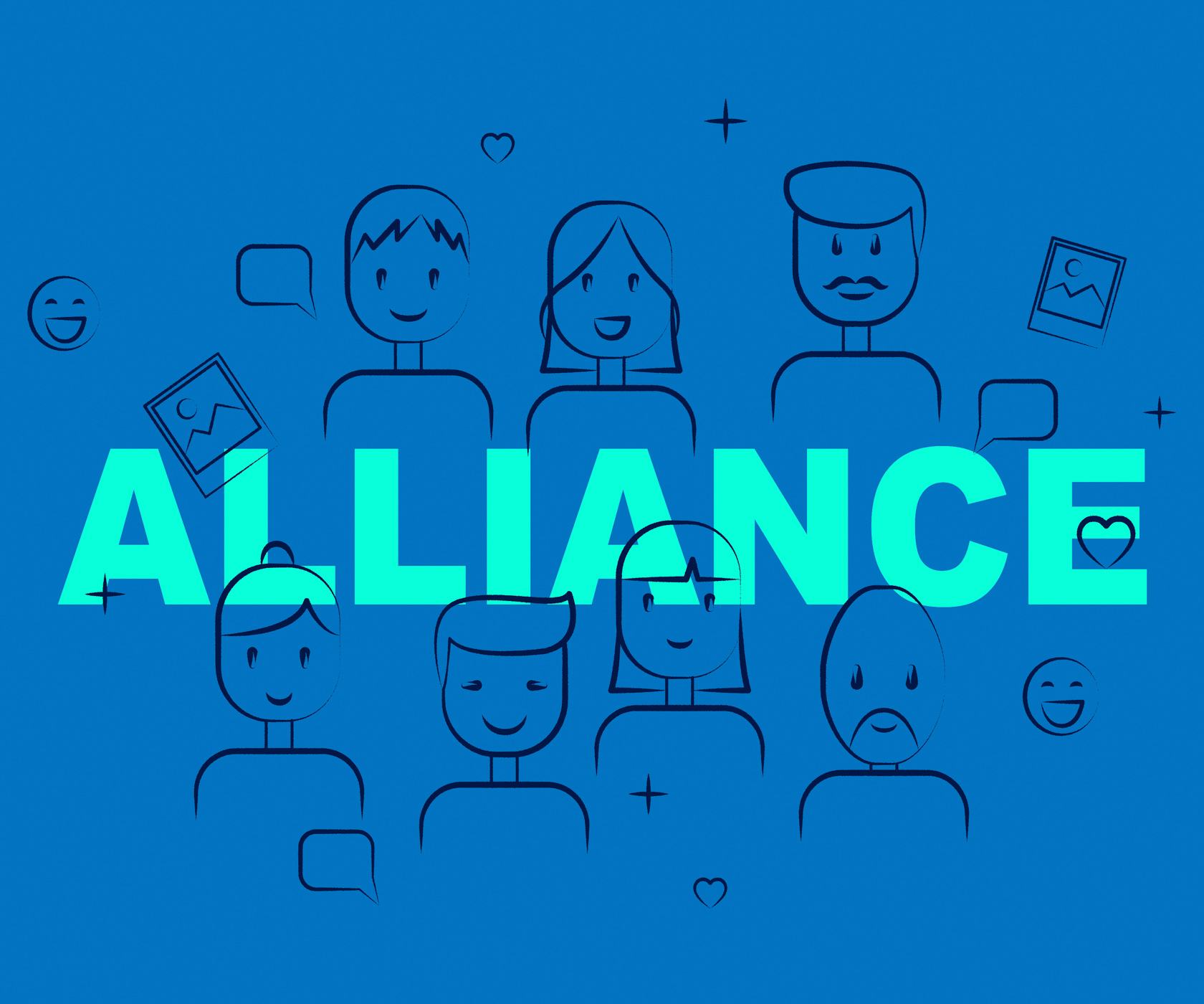 Alliance of people means cooperate cooperation and team photo