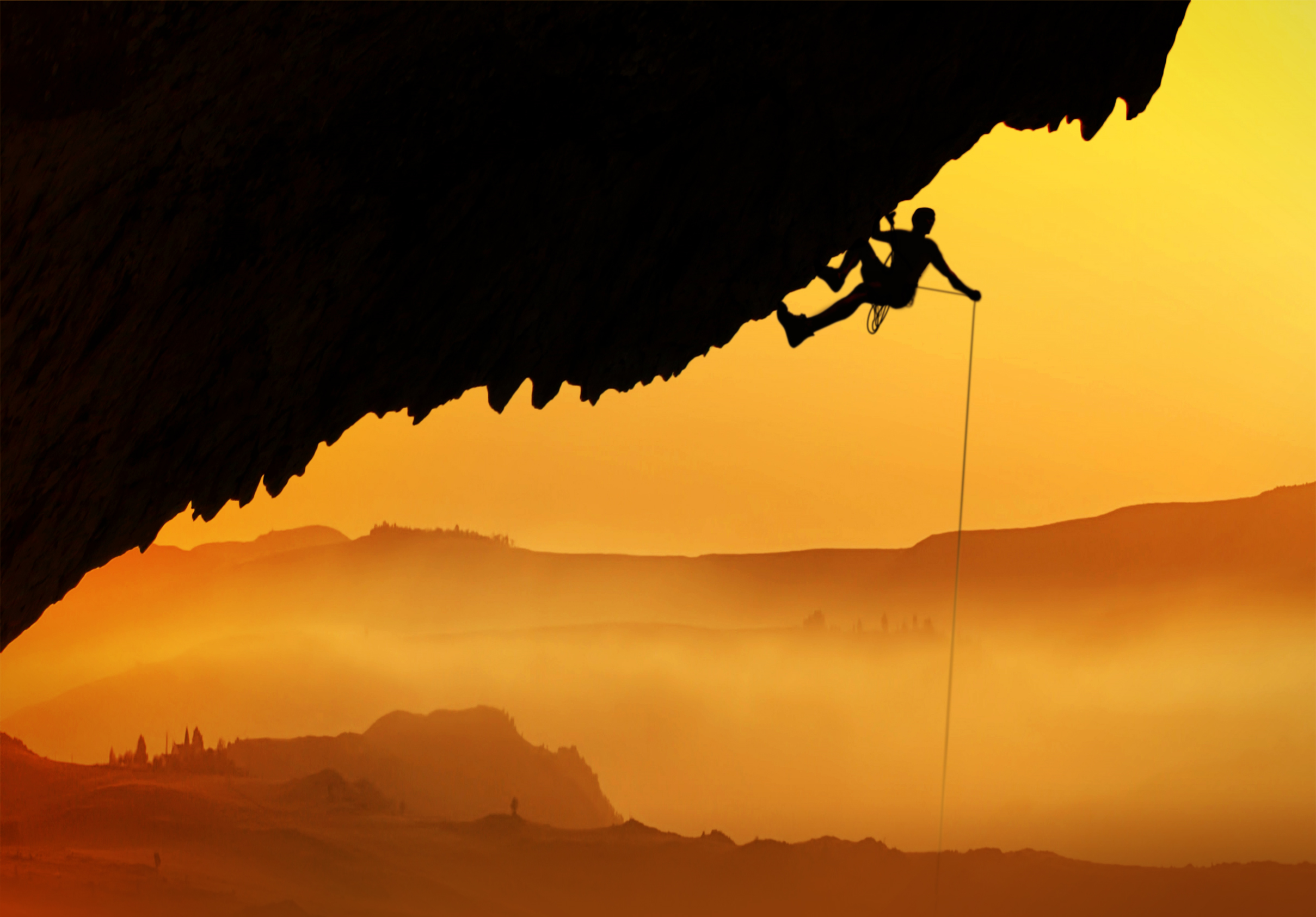 Alpinist - Silhouette at dawn, Acrobat, Orange, Rope, Rock-climbing, HQ Photo