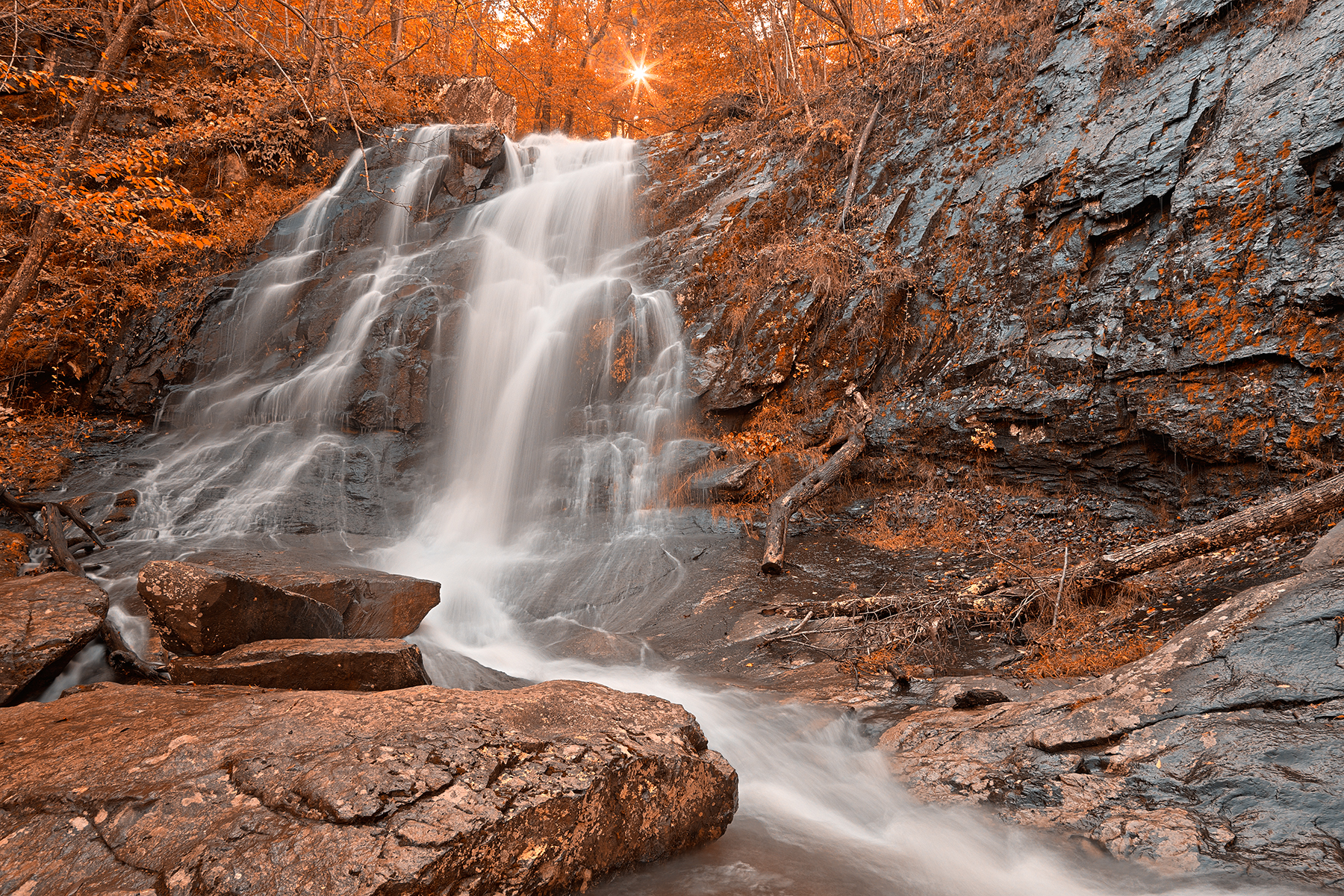 Amber sun waterfall - hdr photo