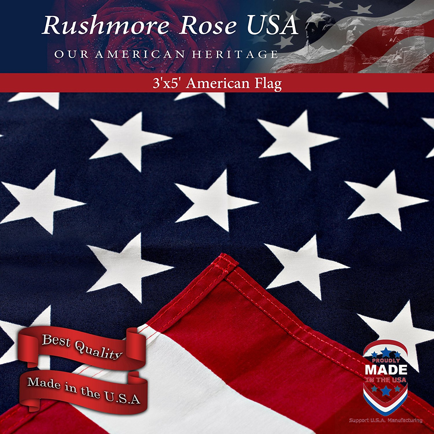 Amazon.com : Rushmore Rose USA American Flag - US Flag 3x5 - Made in ...