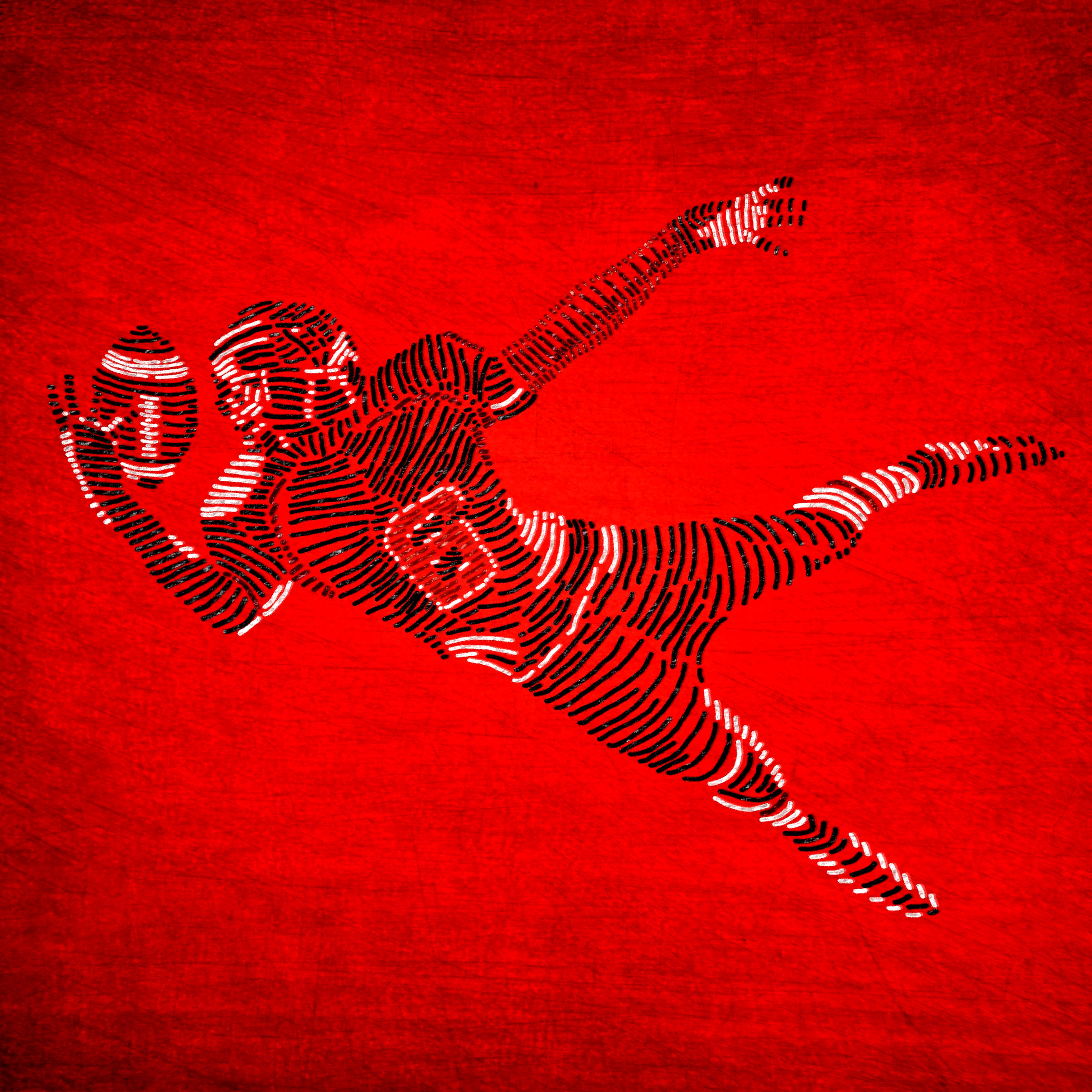 American football player on red background photo