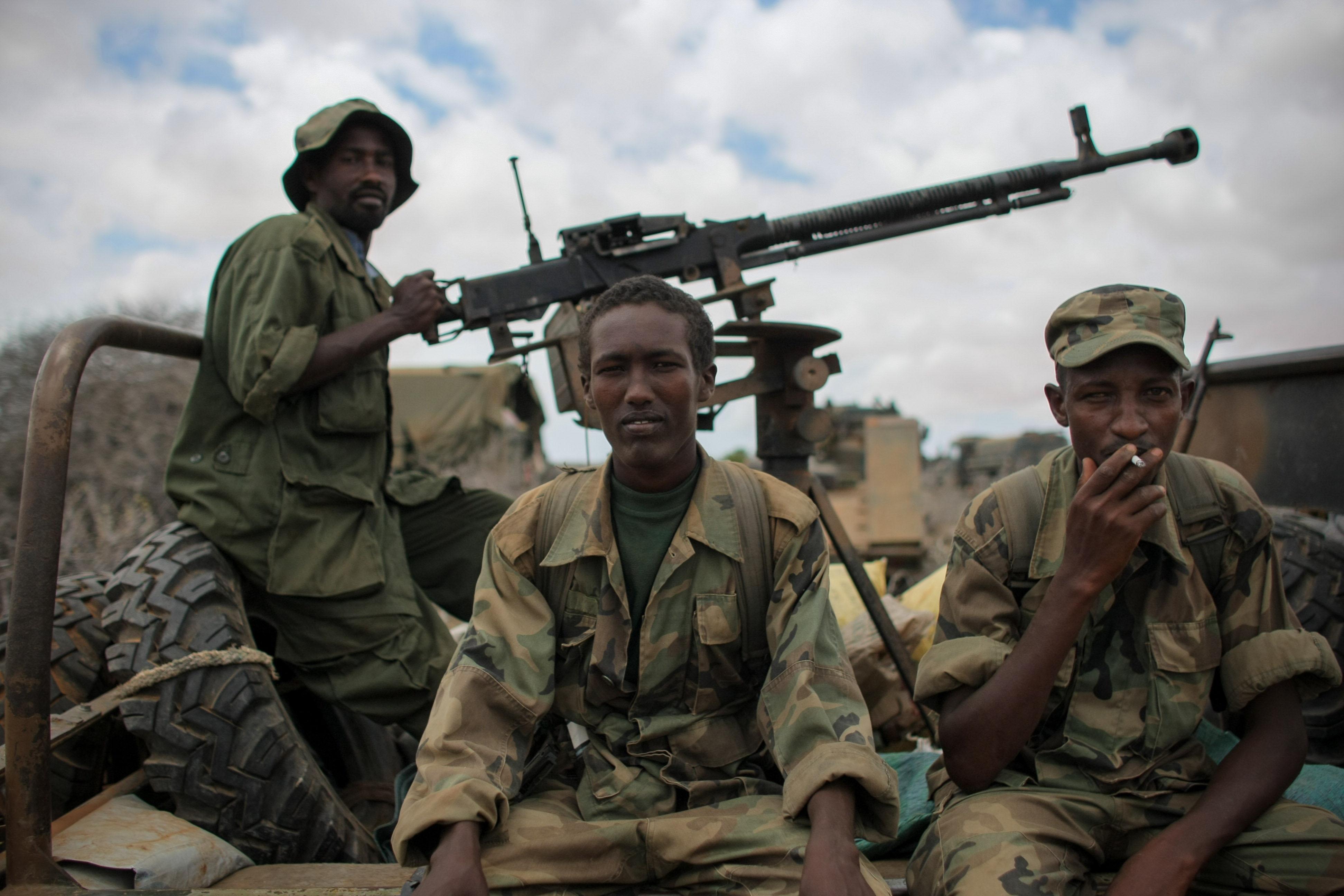 AMISOM forces in Saa'moja outside Kismayo 13, AMISOM, Army, Groupshot, Kenya, HQ Photo