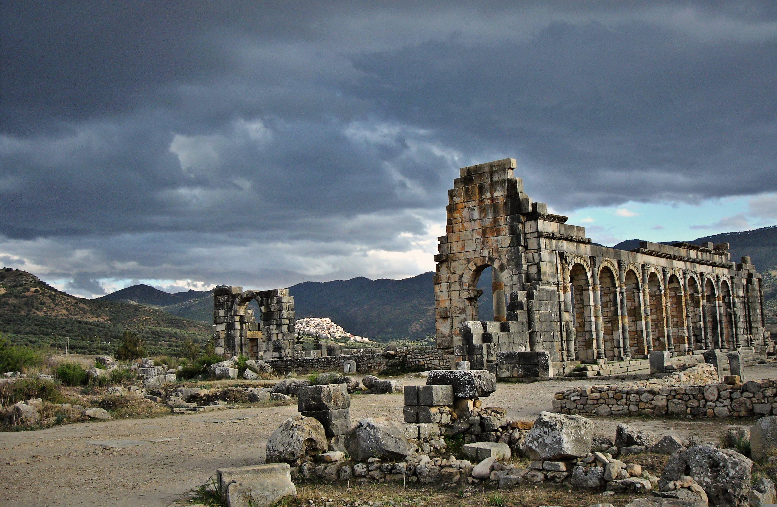 Volubilis is a partly excavated Roman city in Morocco situated near ...