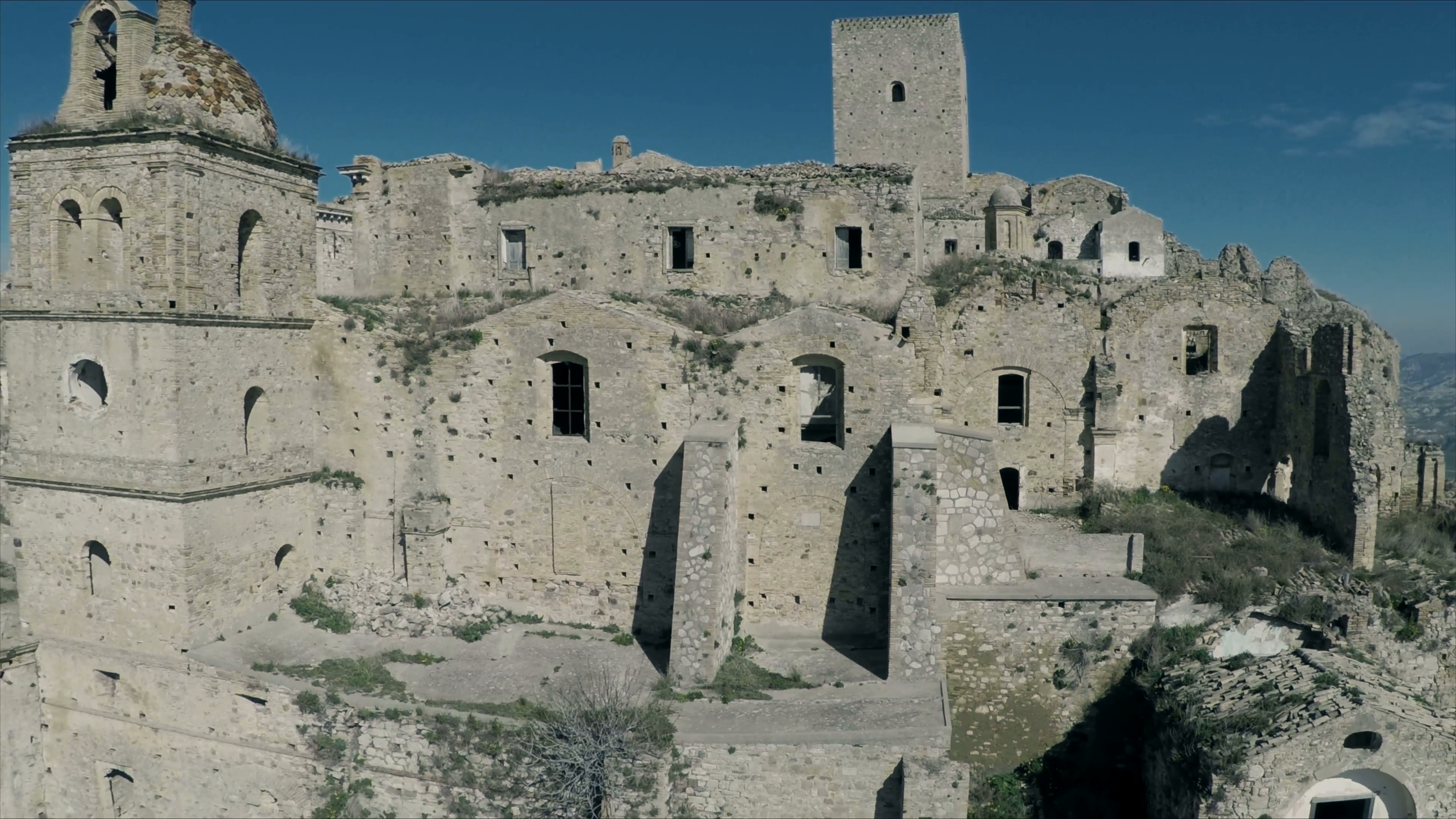 Video of a destroyed town. Aerial drone video N. The city of Craco ...