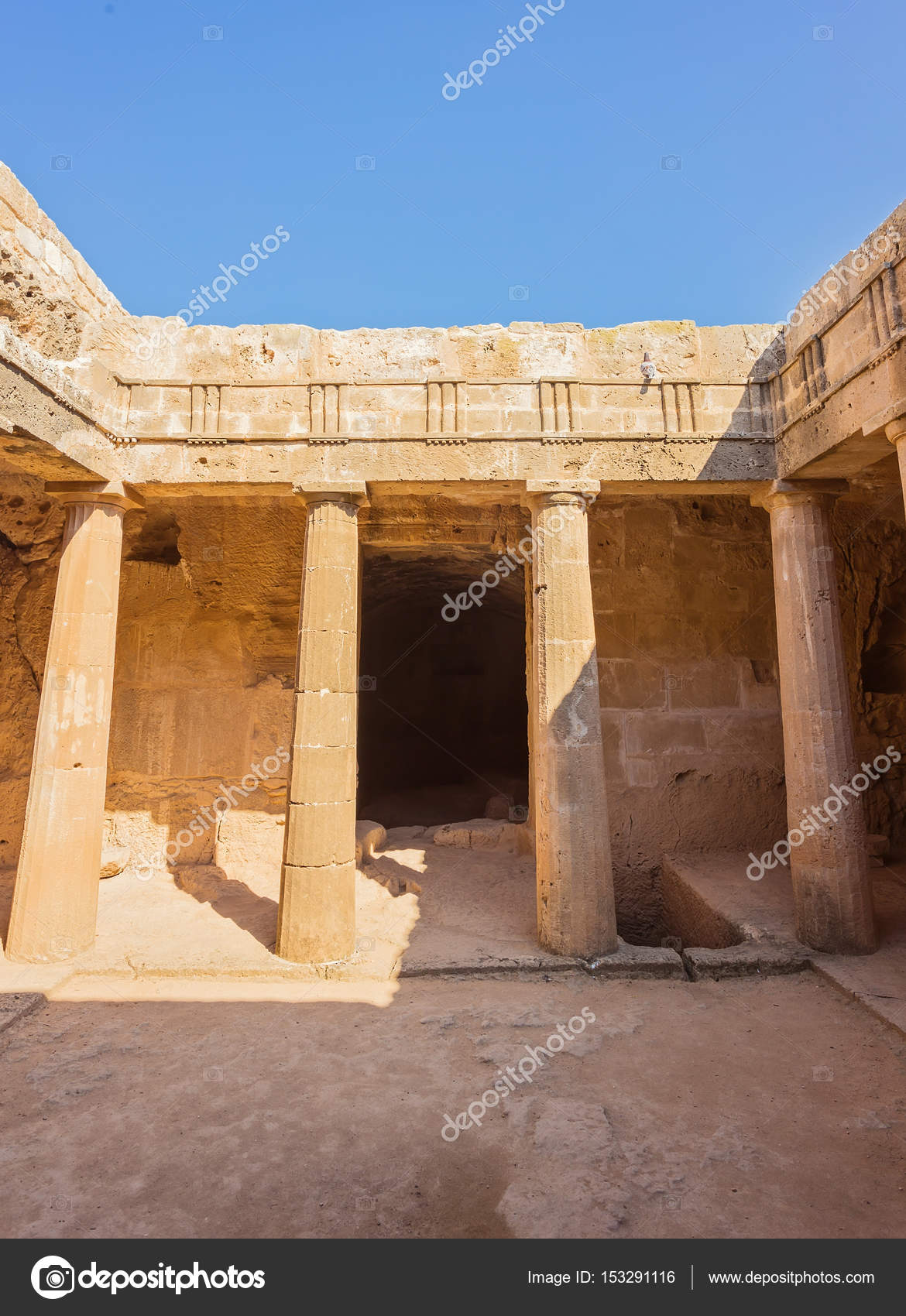 ancient burial chamber at the 'Tomb of the Kings in Paphos, Cypr ...