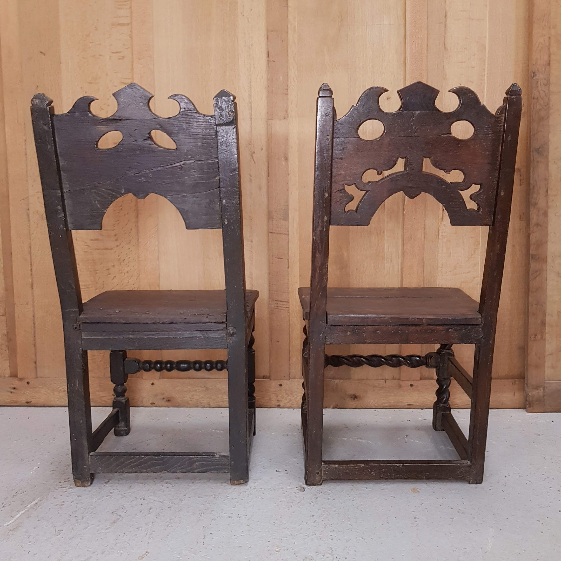 Ancient Oak Wainscot Chairs - Antique Church Antiques