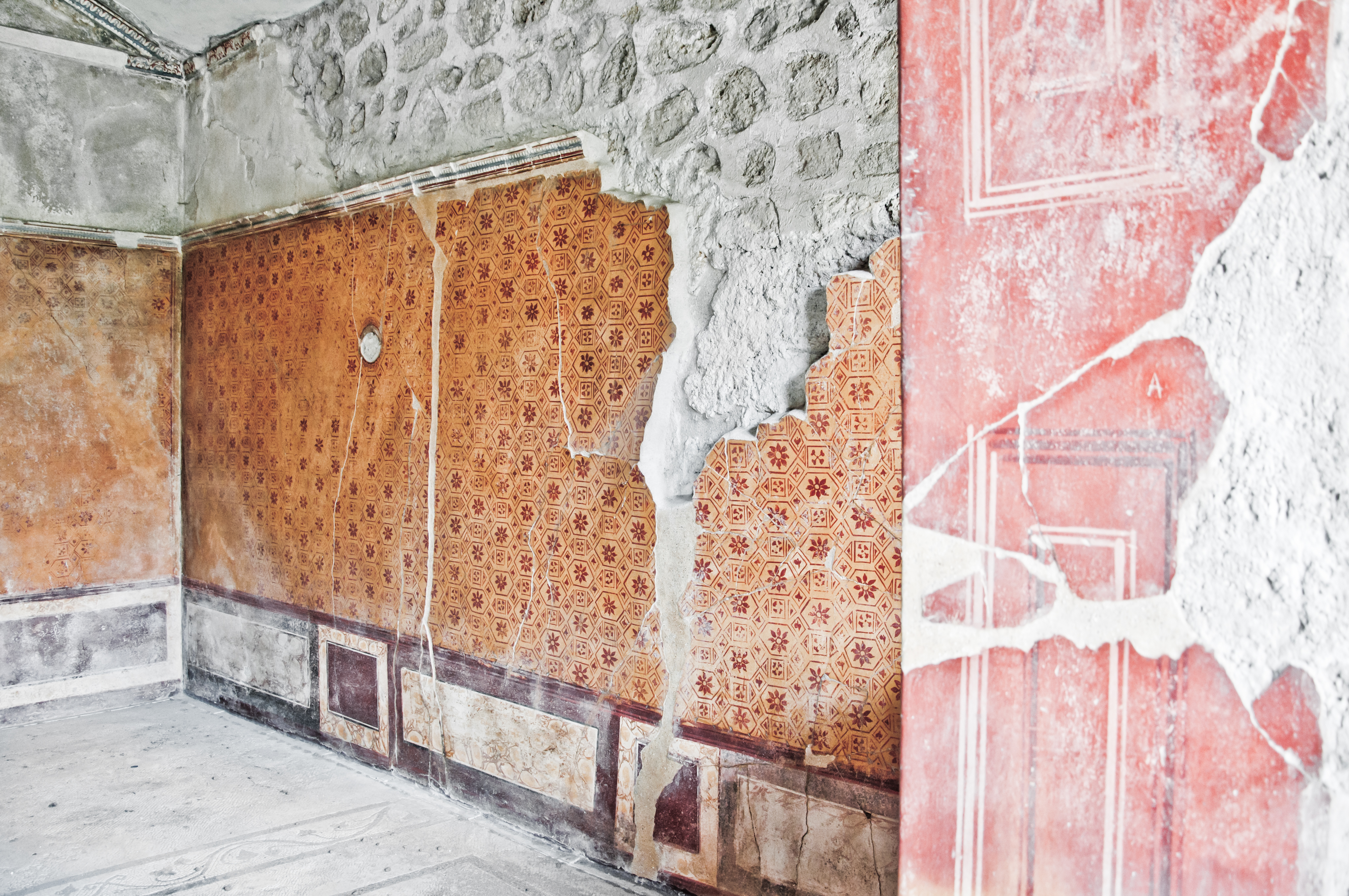 ancient room ruin wall, Stairs, Pompeii, Roma, Roman, HQ Photo