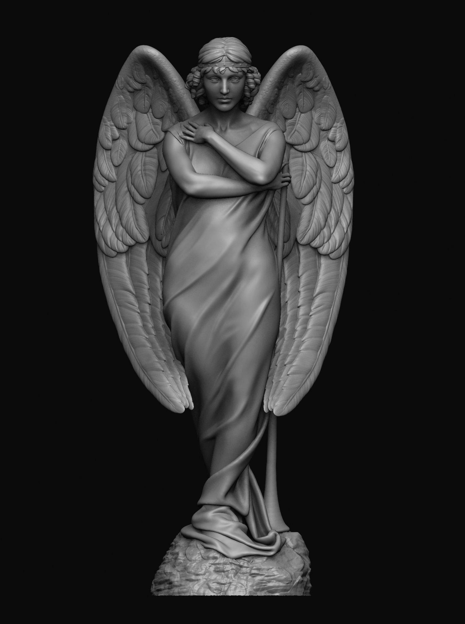 Angel Statue 4 3D Model in Sculpture 3DExport