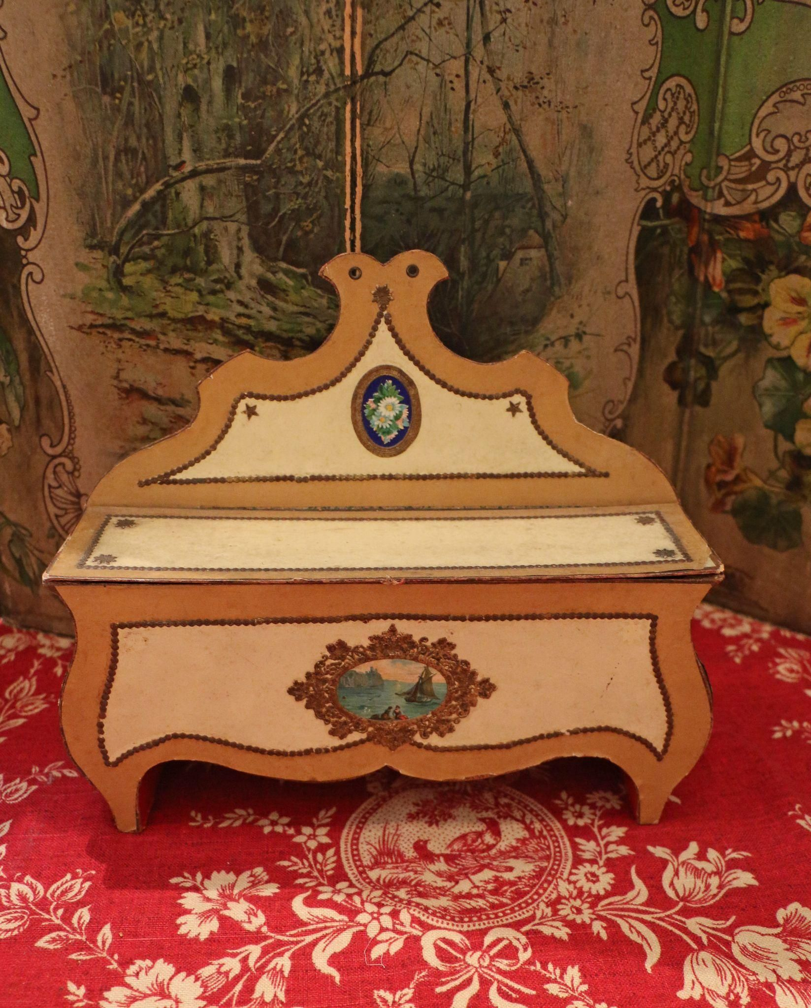Antique Cardboard Candy Container Bench Doll Size