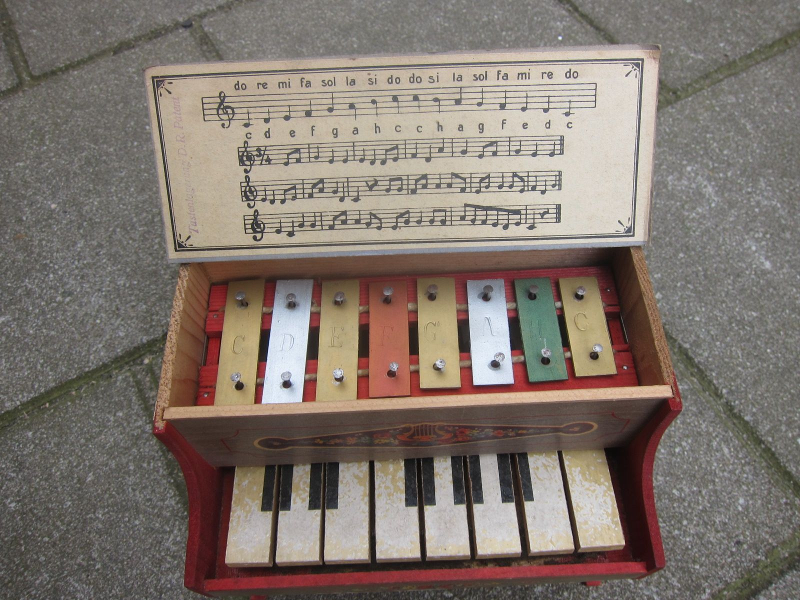 Antique European Toy Piano of wood and cardboard with metal ...