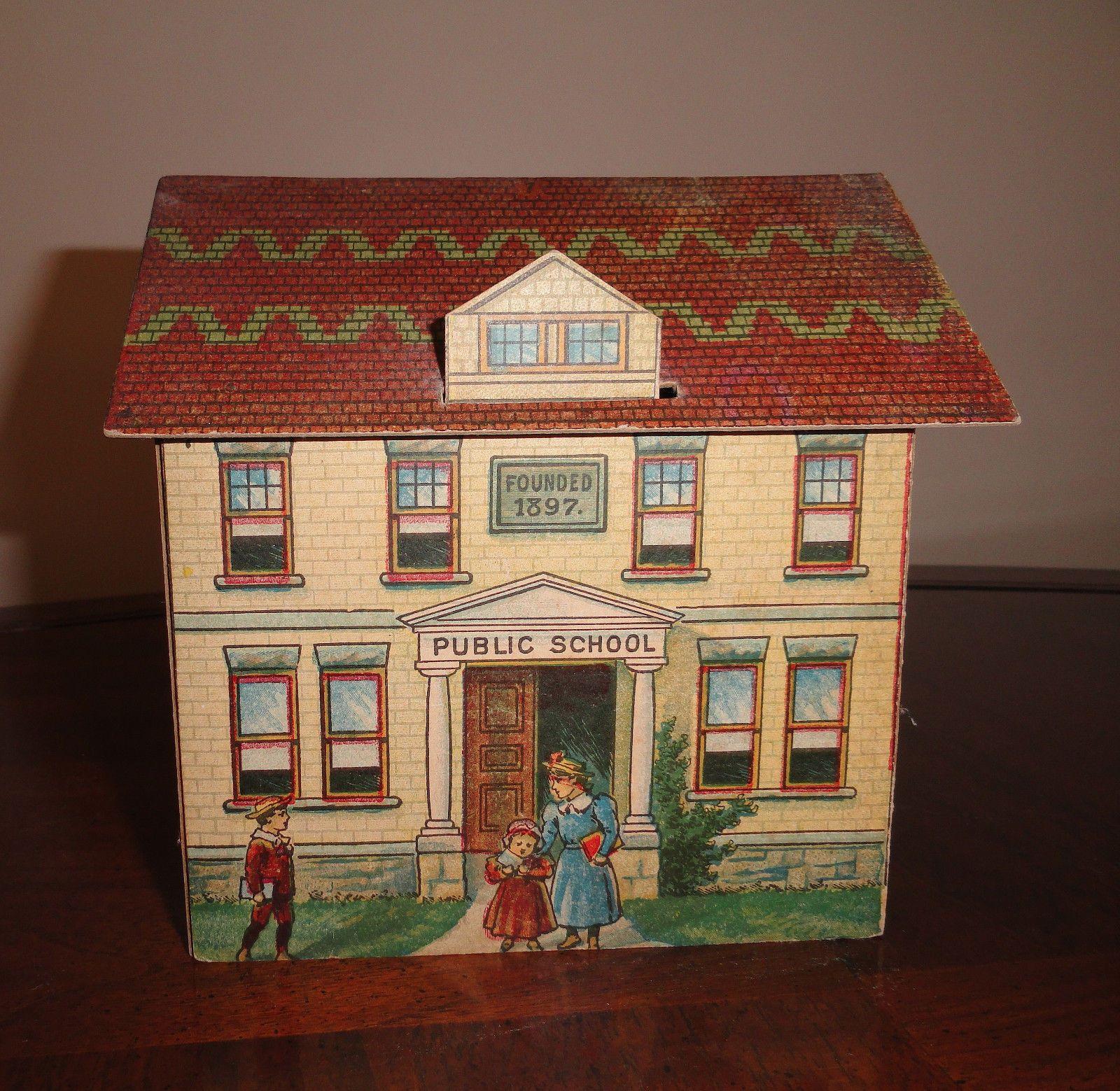 Antique 1897 McLoughlin Bros Pretty Village 7 Public School ...