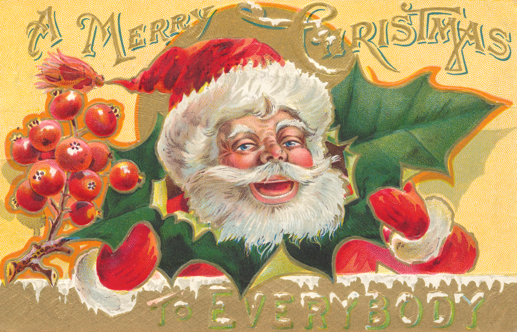 Antique Christmas Card, 1911, Mouth, Page, Ornate, HQ Photo