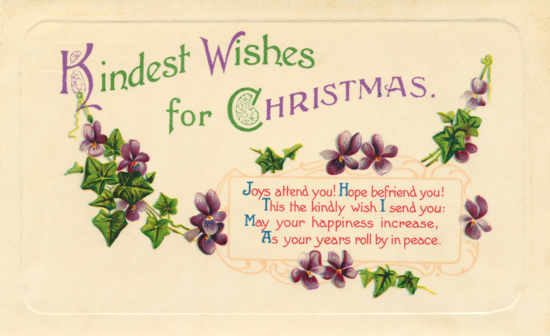 Antique Christmas Card, 1909, Ornamental, Post-card, Post, HQ Photo