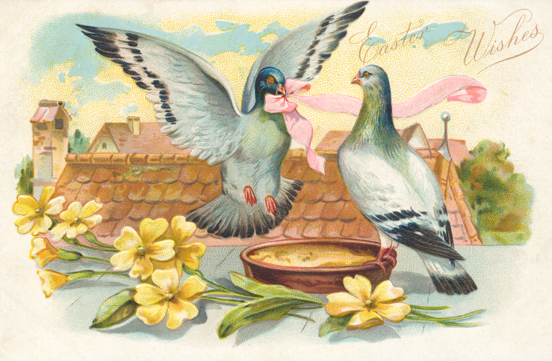 Antique Easter Greeting Card, Ancient, Ornamental, Paper, Pairing, HQ Photo