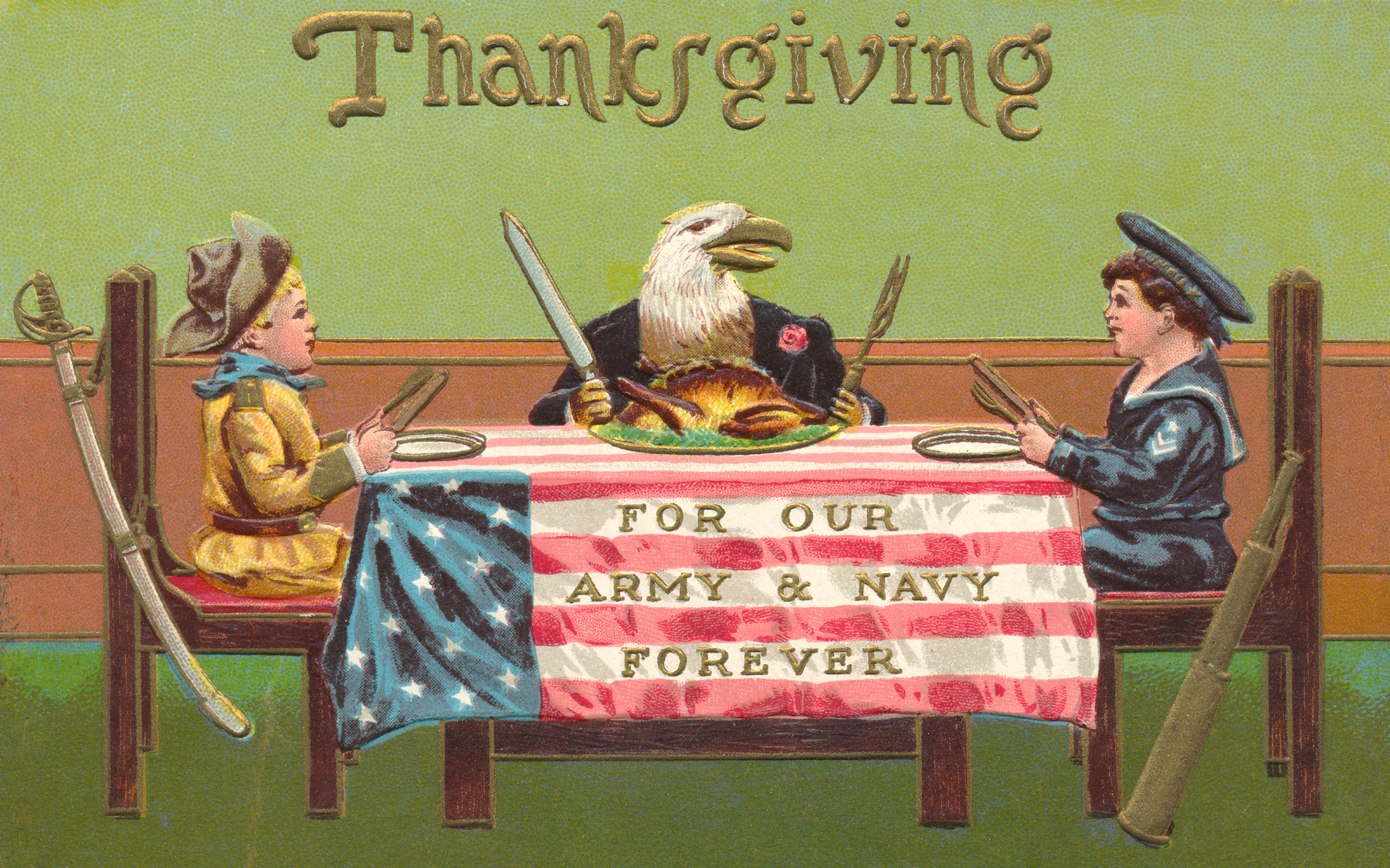 Antique Patriotic Thanksgiving Card, America, Patriotic, Sabre, Saber, HQ Photo