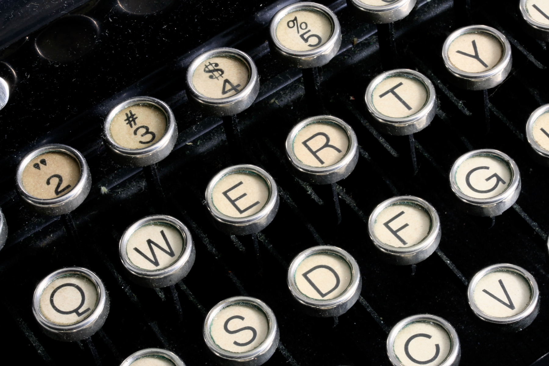 Antique typewriter close-up photo