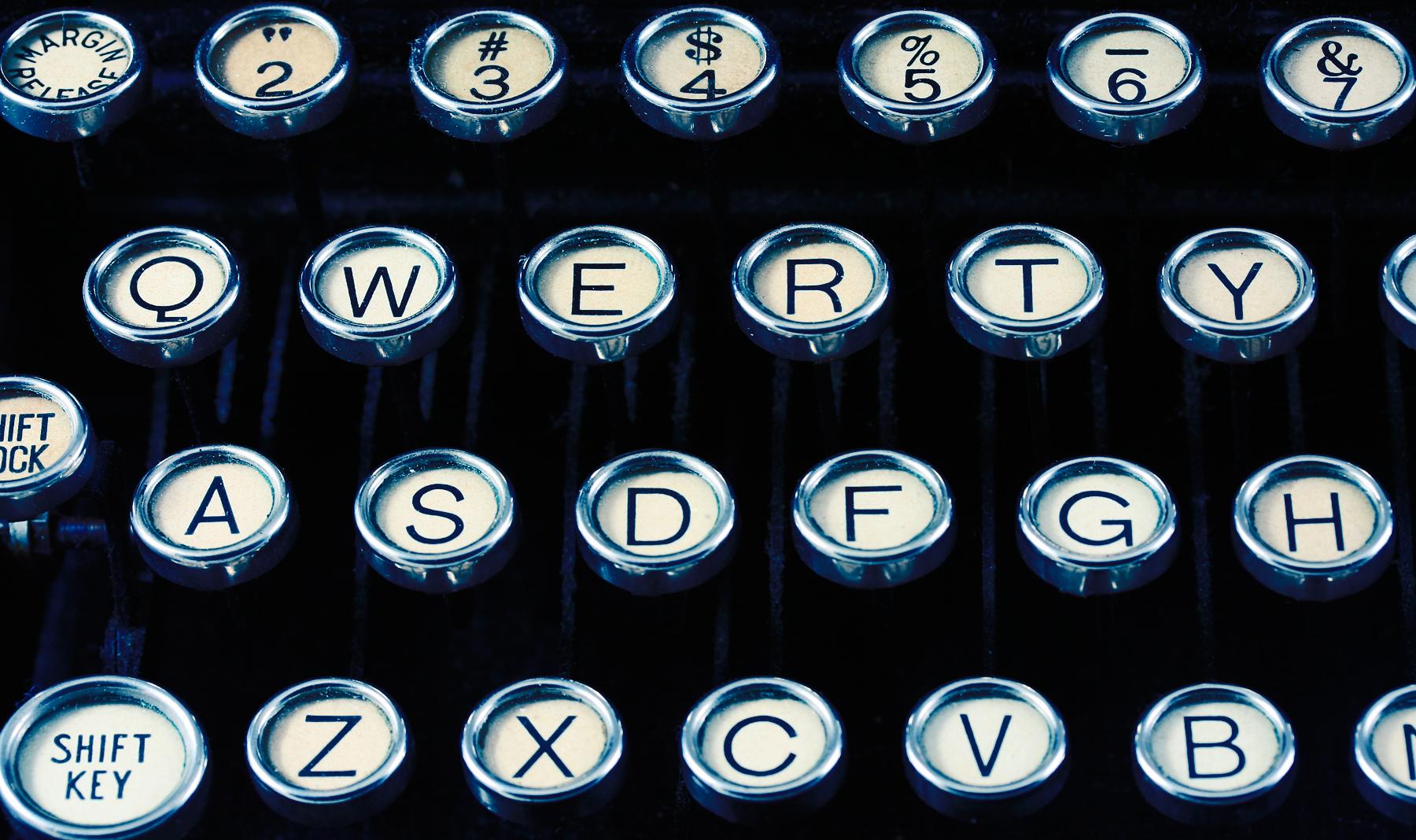 Antique typewriter close-up photo