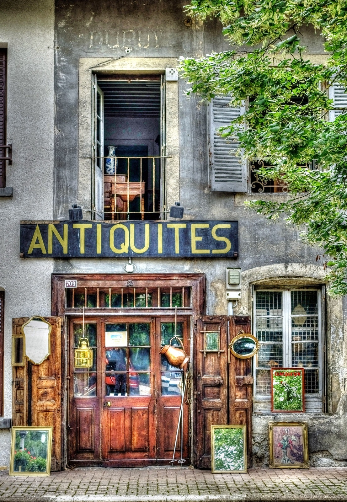 Antiquites Signage, Street, Wood, Window, Vintage, HQ Photo