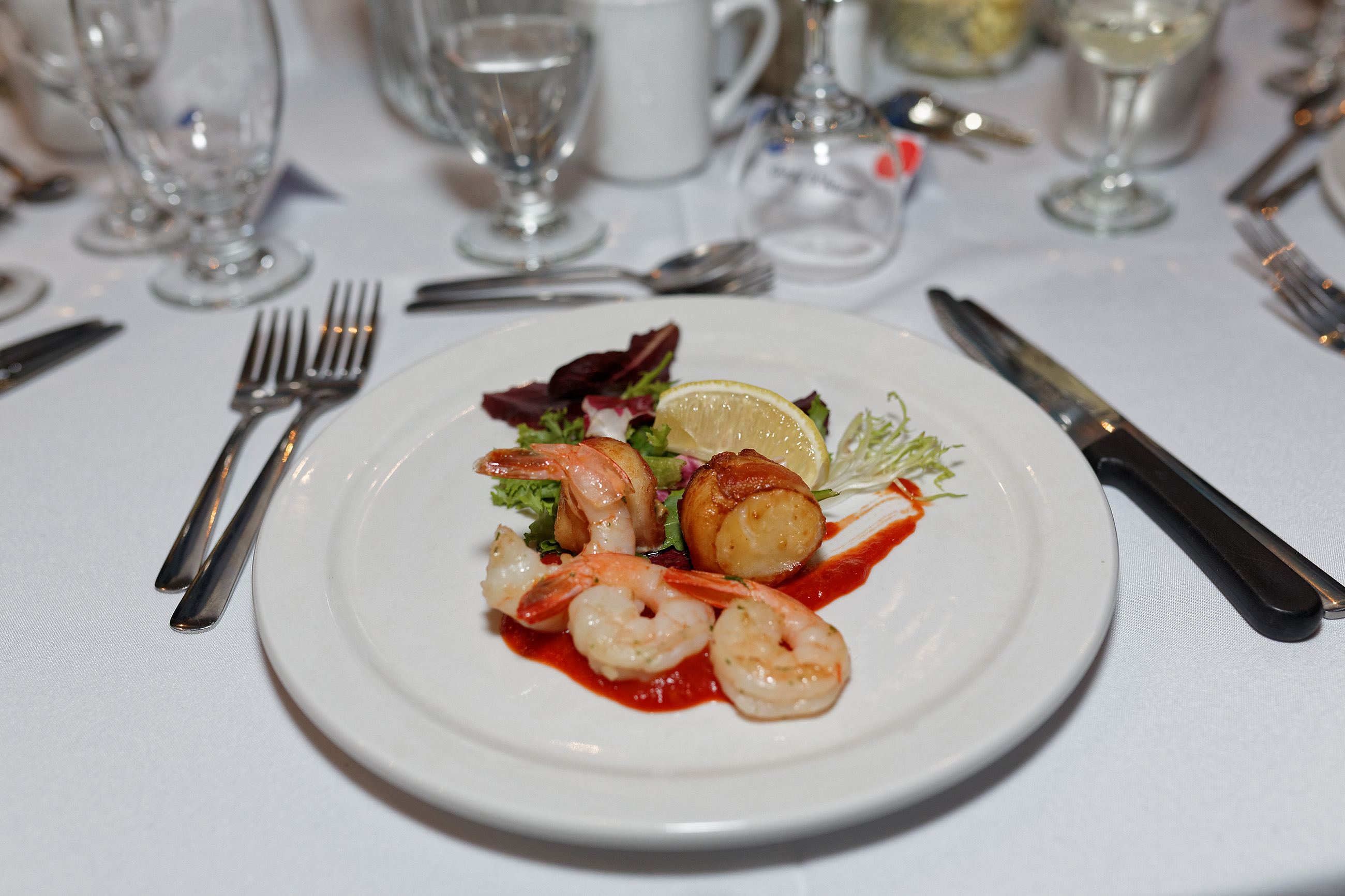 Appetizer of shrimp and scallop, Salad, Salt, Red, Plate, HQ Photo