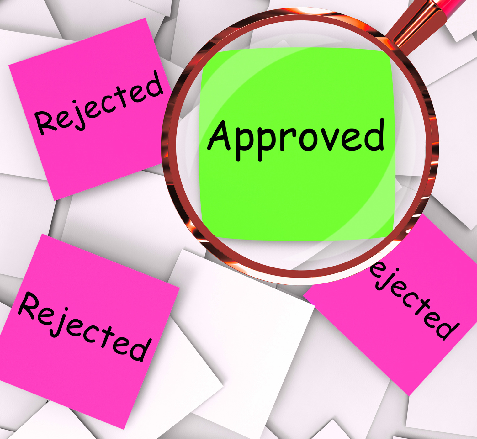 Approved rejected post-it papers means approval or rejection photo
