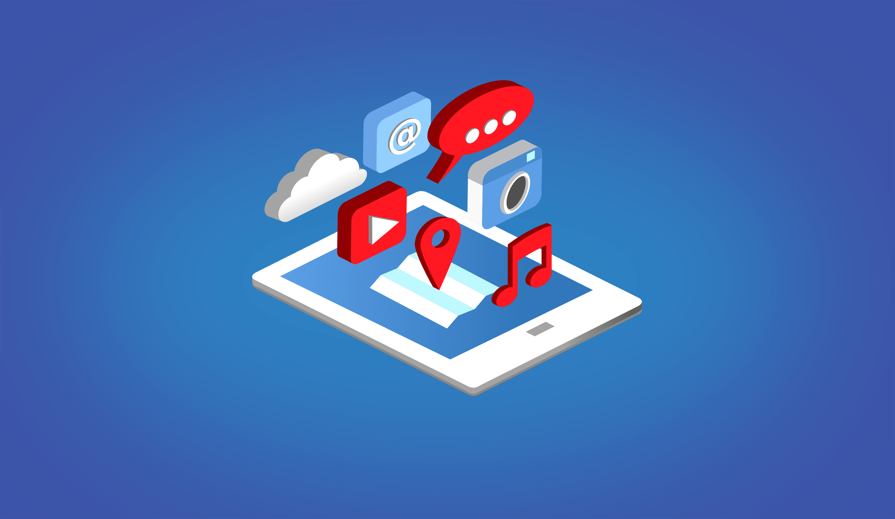 Apps on tablet - isometric design photo