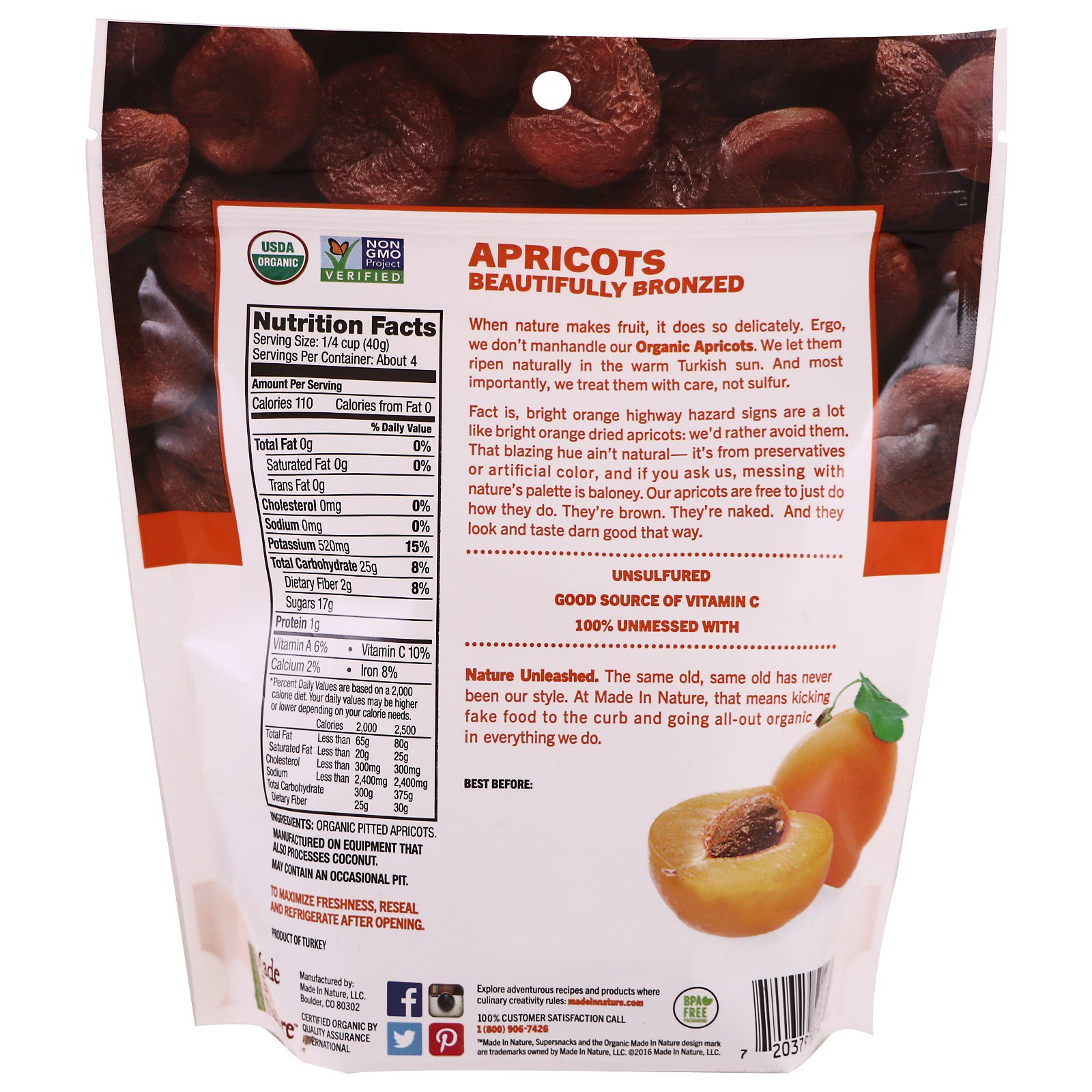 Made in Nature, Organic, Apricots In The Buff Supersnacks, 6 oz (170 ...