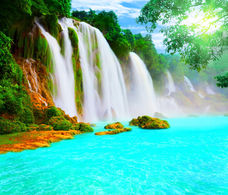 Waterfalls: Water Aquamarine Lake Scenery Waterfall Sunshine Falls ...