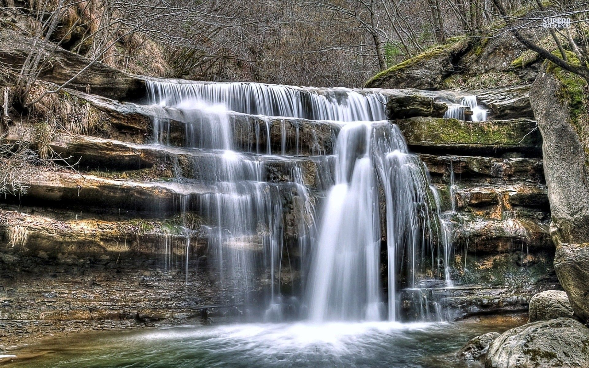 Waterfalls wallpapers: Falls River Stream Trees Waterfall Rocks ...