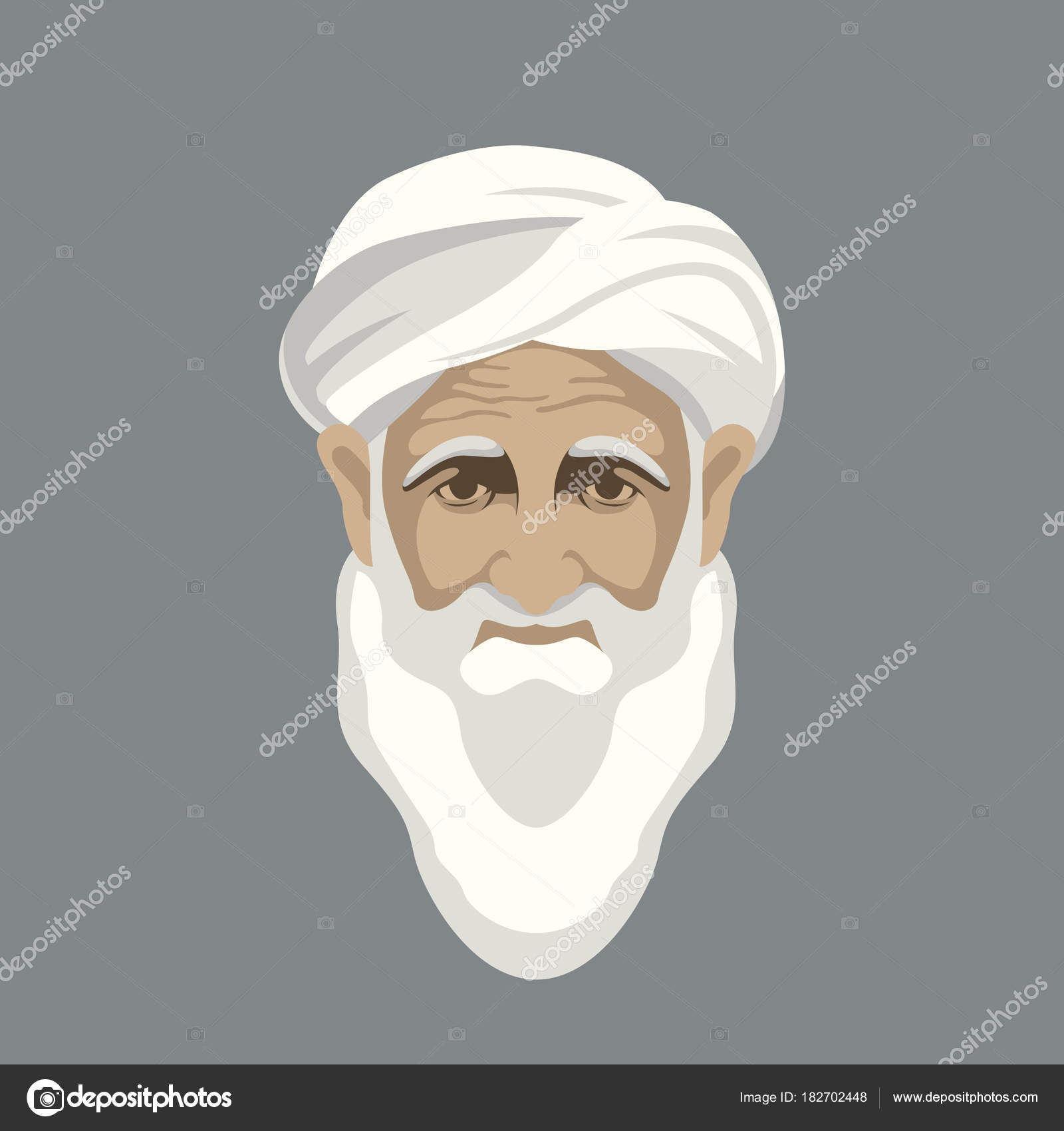 Arab old man face vector illustration flat style front — Stock ...