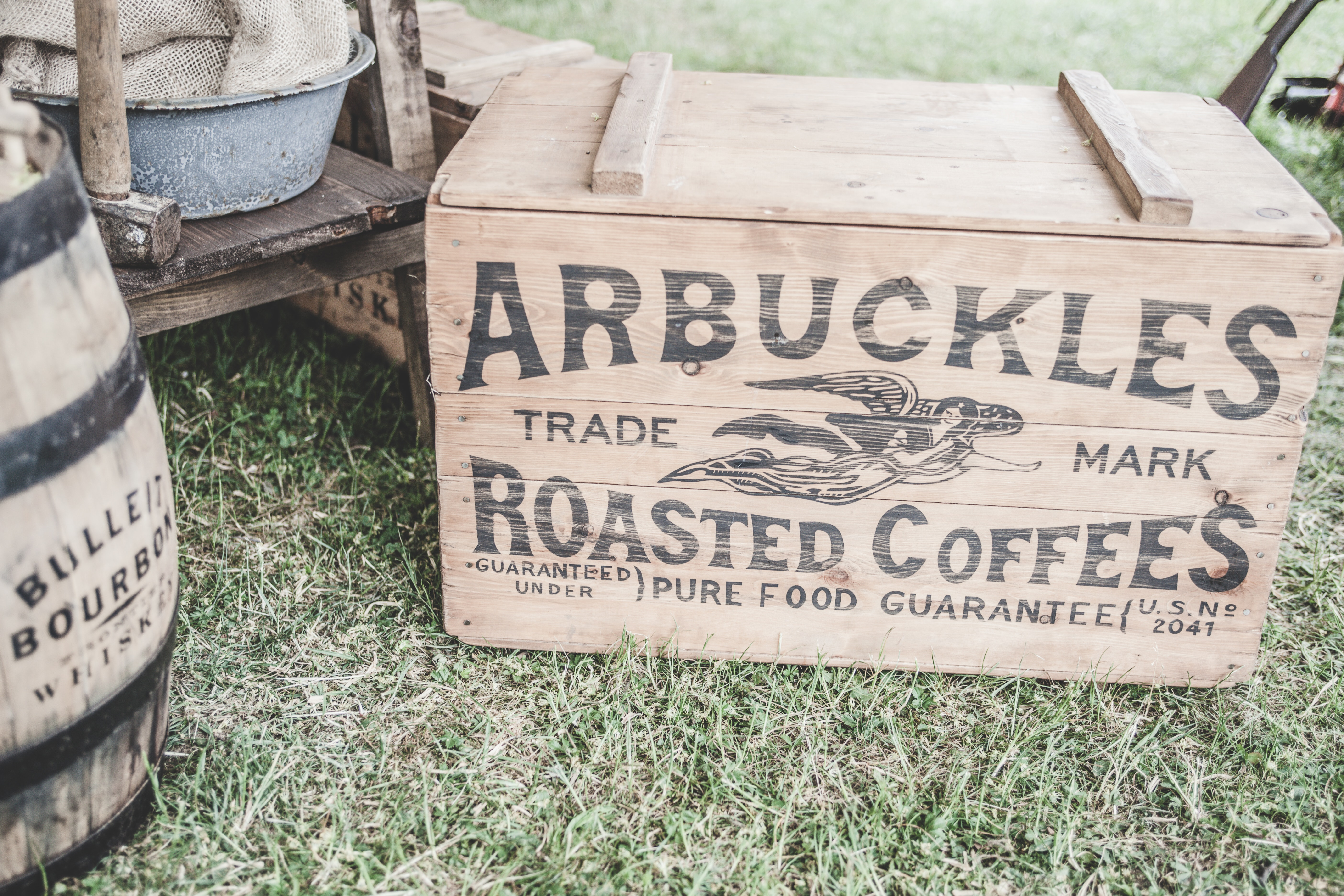 Arbuckles Roasted Coffees, Antique, Barrel, Box, Brand, HQ Photo