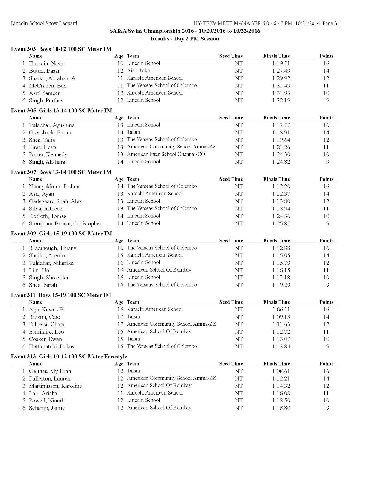 SAISA Swimming 2016. October 20-22. Kathmandu, Nepal: Results Day2